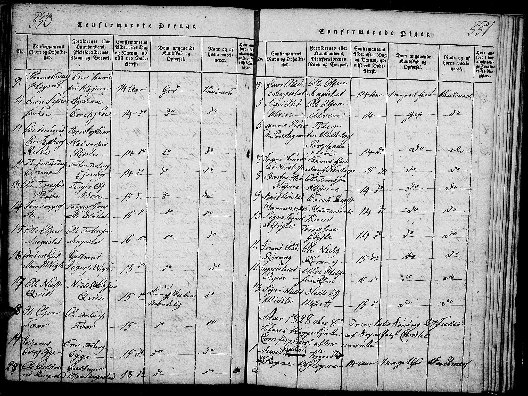 SAH, Slidre prestekontor, Ministerialbok nr. 2, 1814-1830, s. 550-551