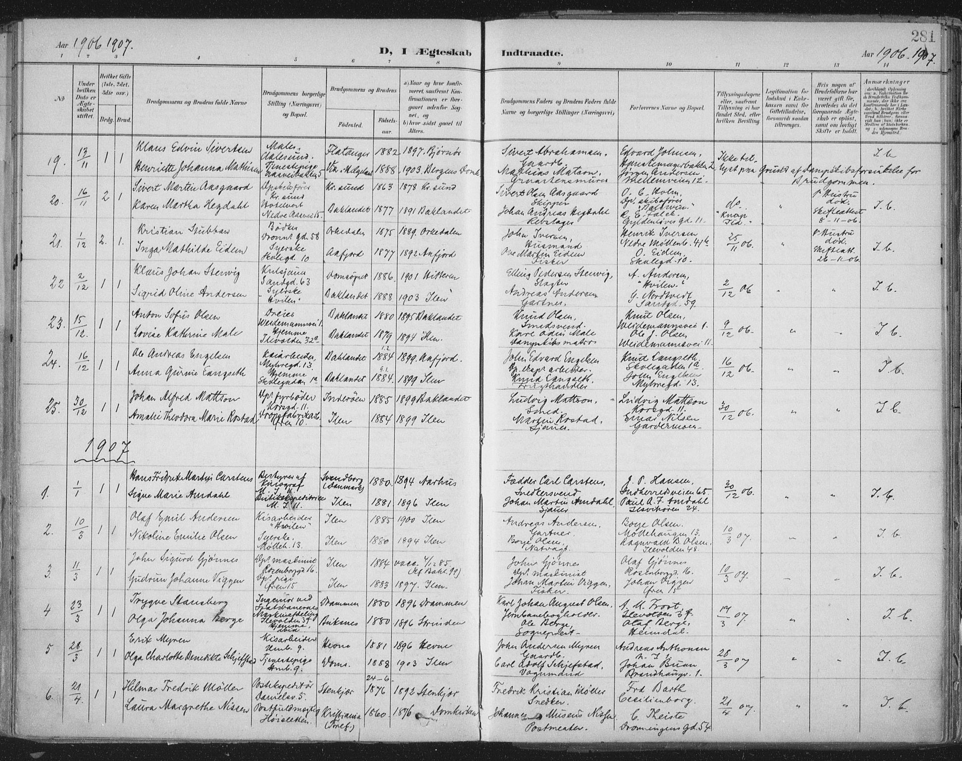 SAT, Ministerialprotokoller, klokkerbøker og fødselsregistre - Sør-Trøndelag, 603/L0167: Ministerialbok nr. 603A06, 1896-1932, s. 281