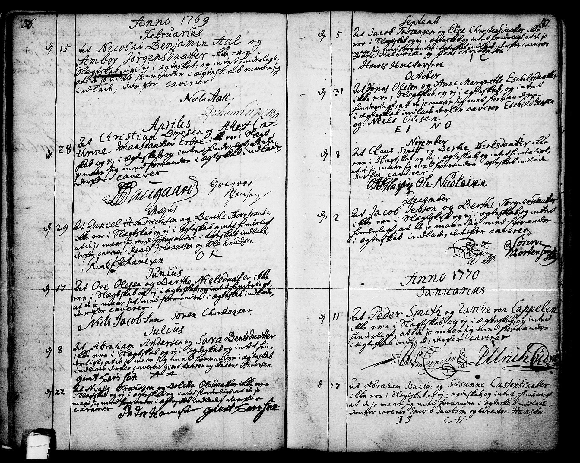 SAKO, Skien kirkebøker, F/Fa/L0003: Ministerialbok nr. 3, 1755-1791, s. 36-37