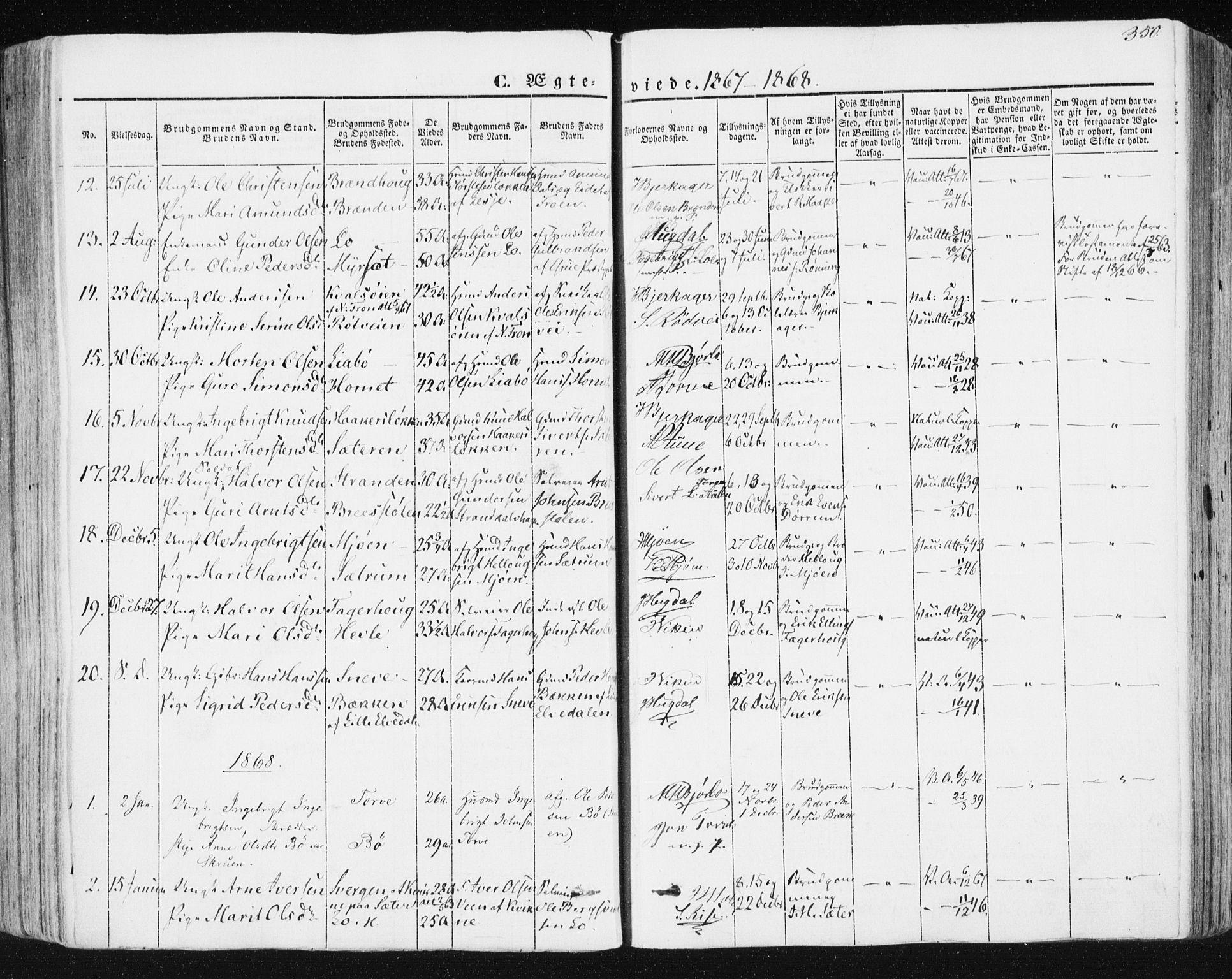 SAT, Ministerialprotokoller, klokkerbøker og fødselsregistre - Sør-Trøndelag, 678/L0899: Ministerialbok nr. 678A08, 1848-1872, s. 350