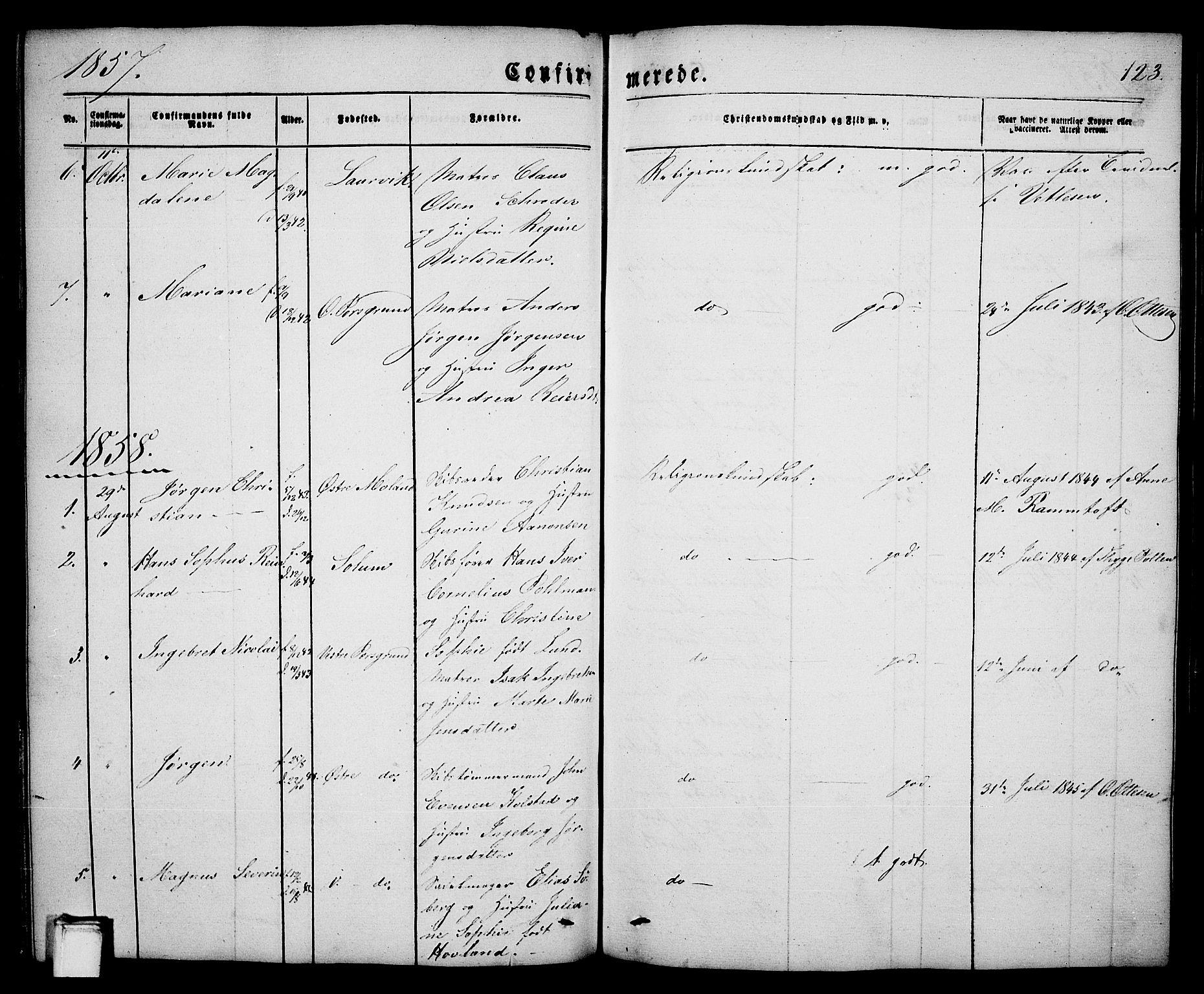 SAKO, Porsgrunn kirkebøker , G/Ga/L0002: Klokkerbok nr. I 2, 1847-1877, s. 123