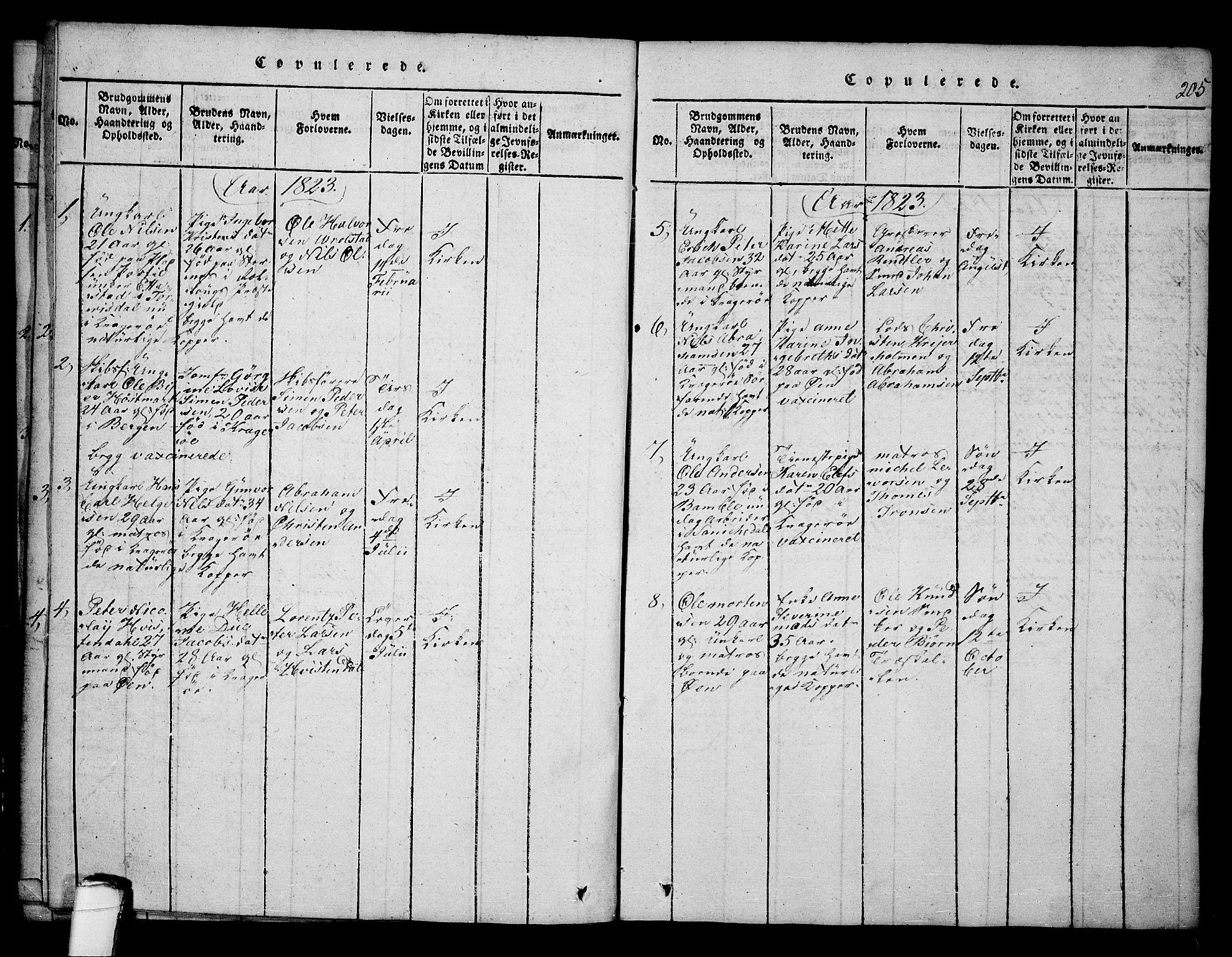 SAKO, Kragerø kirkebøker, F/Fa/L0004: Ministerialbok nr. 4, 1814-1831, s. 205