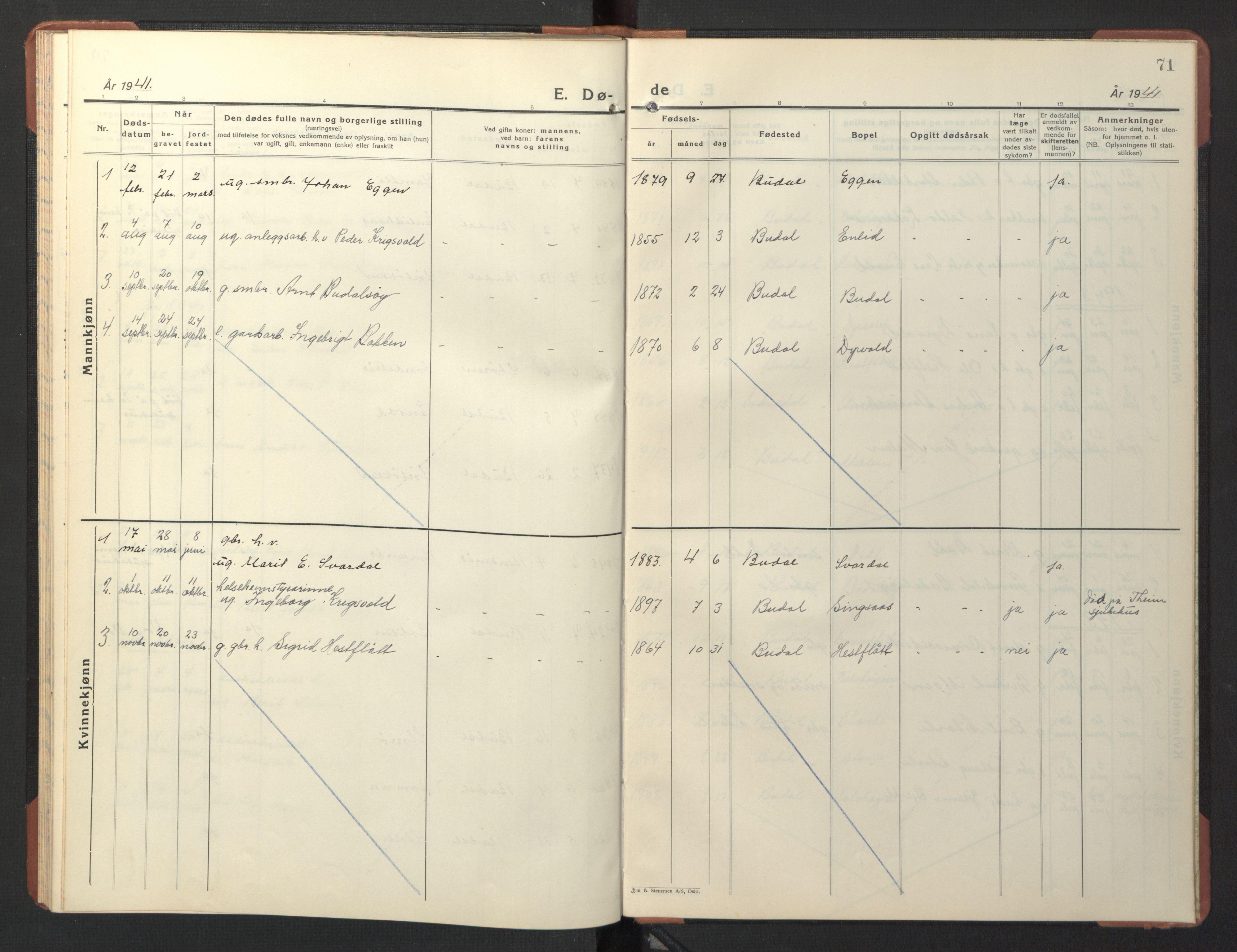 SAT, Ministerialprotokoller, klokkerbøker og fødselsregistre - Sør-Trøndelag, 690/L1053: Klokkerbok nr. 690C03, 1930-1947, s. 71