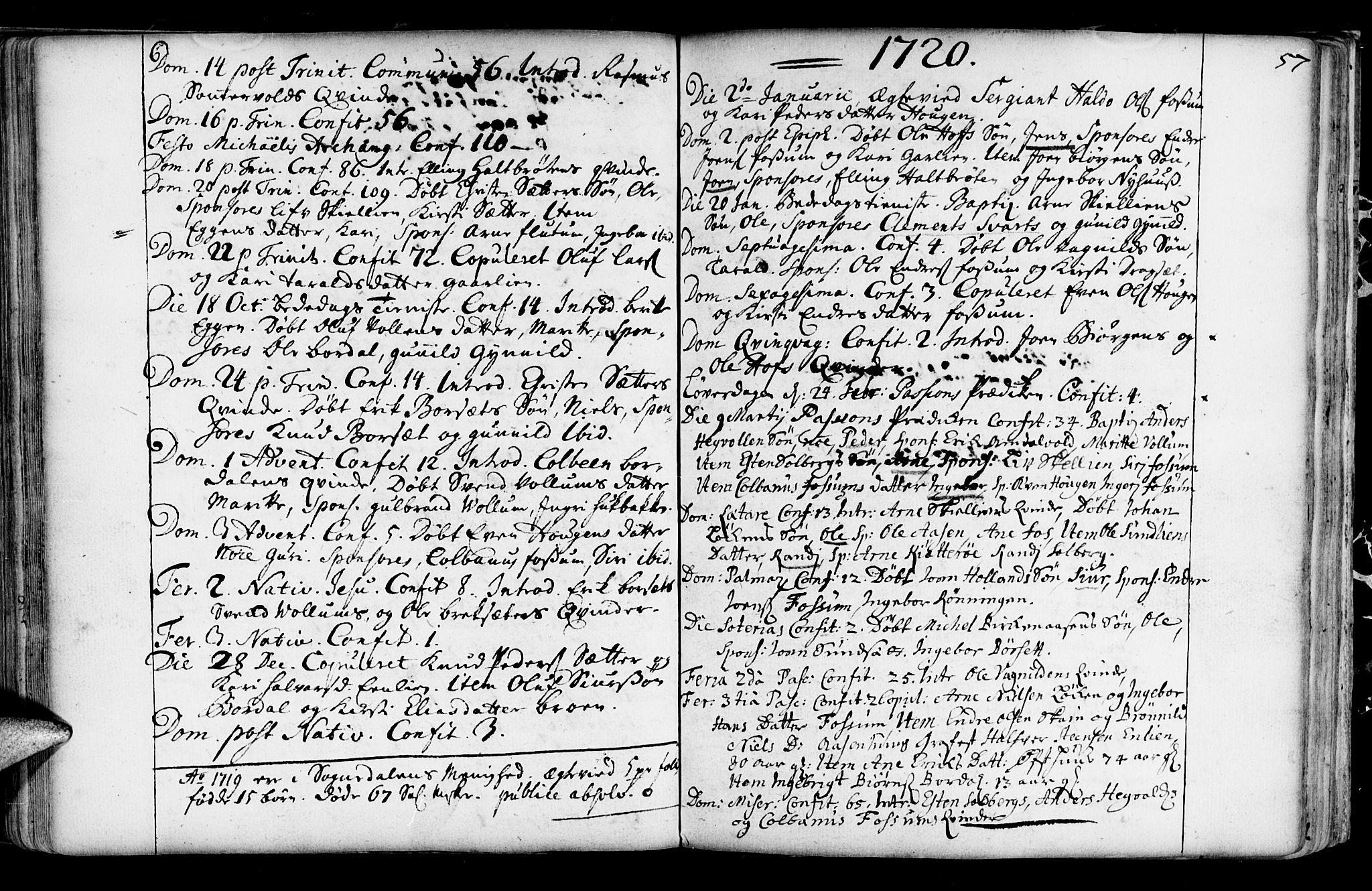 SAT, Ministerialprotokoller, klokkerbøker og fødselsregistre - Sør-Trøndelag, 689/L1036: Ministerialbok nr. 689A01, 1696-1746, s. 57