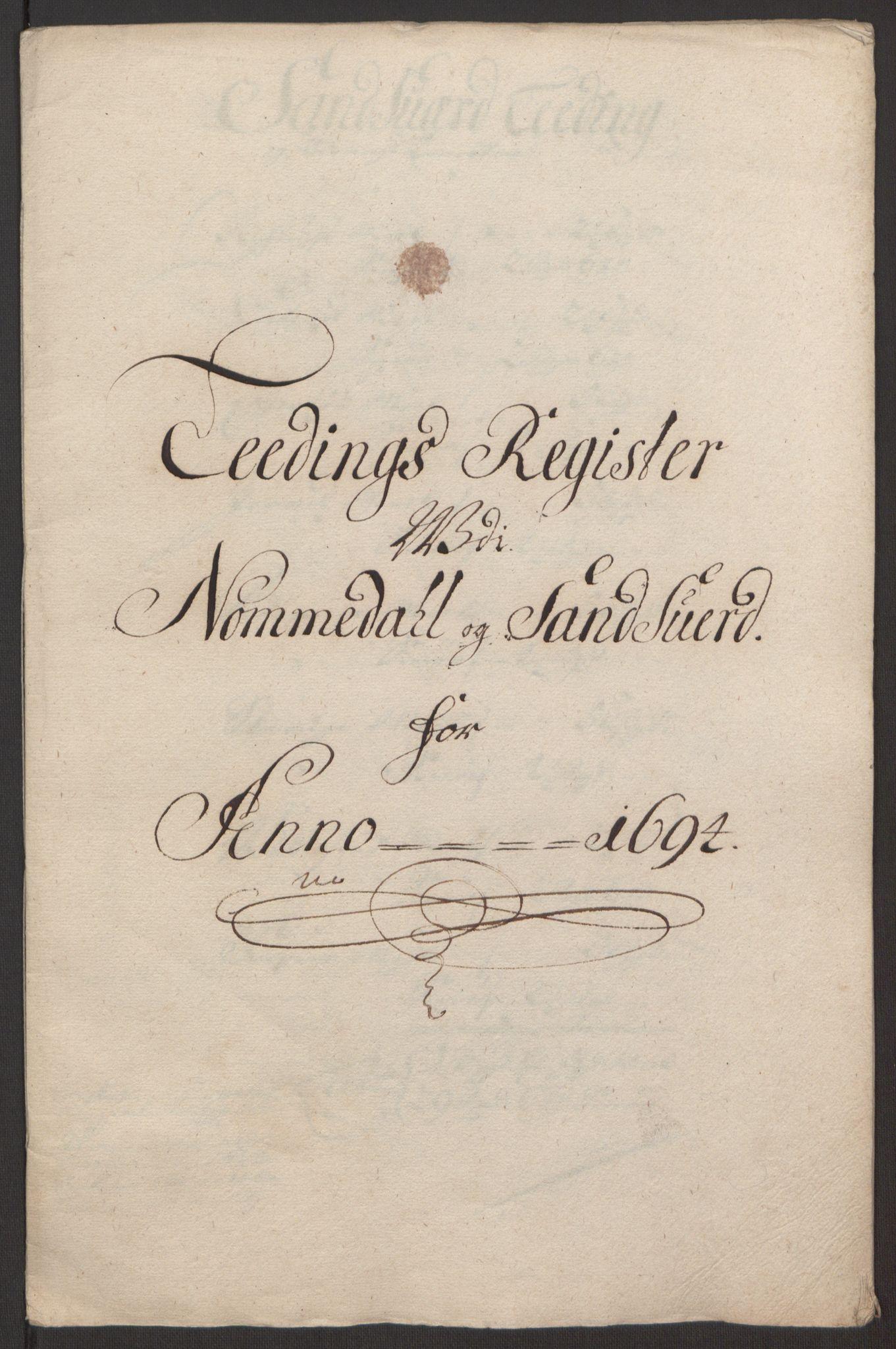 RA, Rentekammeret inntil 1814, Reviderte regnskaper, Fogderegnskap, R24/L1575: Fogderegnskap Numedal og Sandsvær, 1692-1695, s. 201