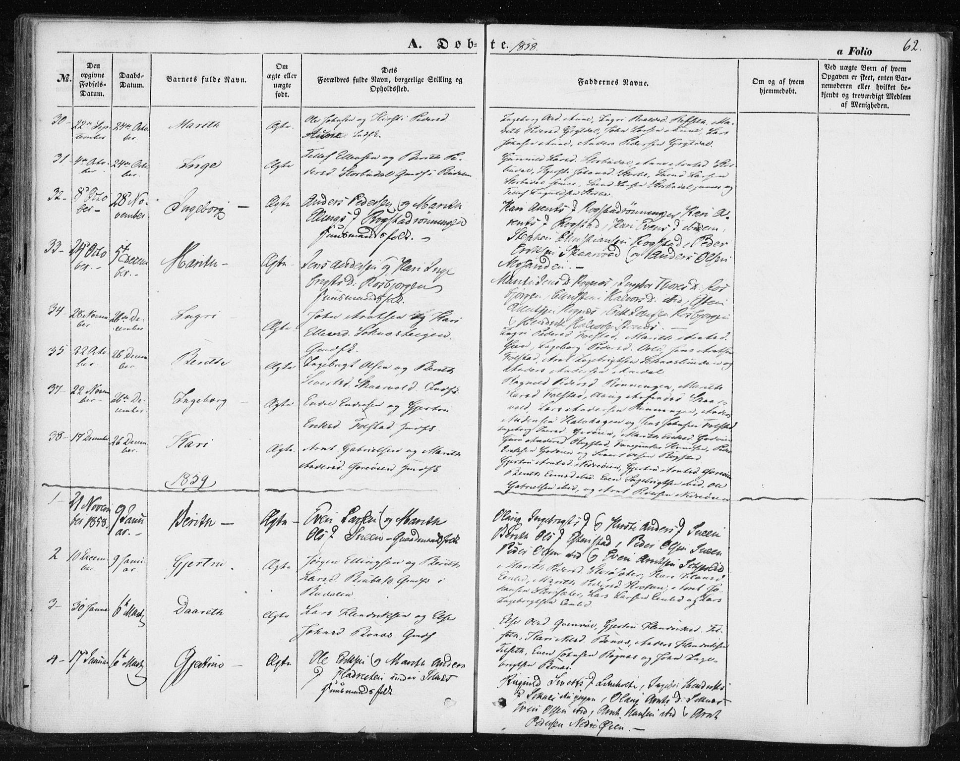 SAT, Ministerialprotokoller, klokkerbøker og fødselsregistre - Sør-Trøndelag, 687/L1000: Ministerialbok nr. 687A06, 1848-1869, s. 62