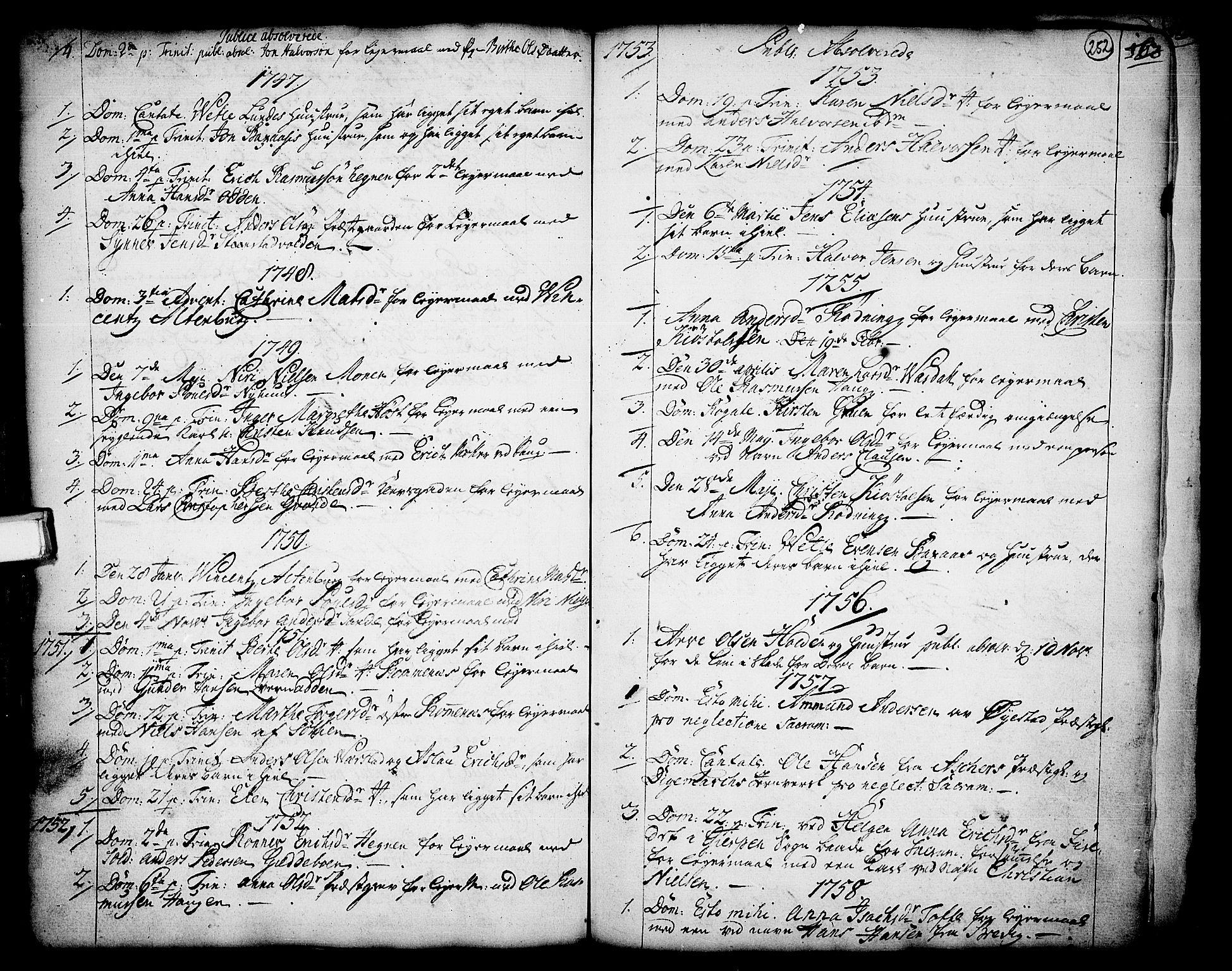 SAKO, Holla kirkebøker, F/Fa/L0001: Ministerialbok nr. 1, 1717-1779, s. 252