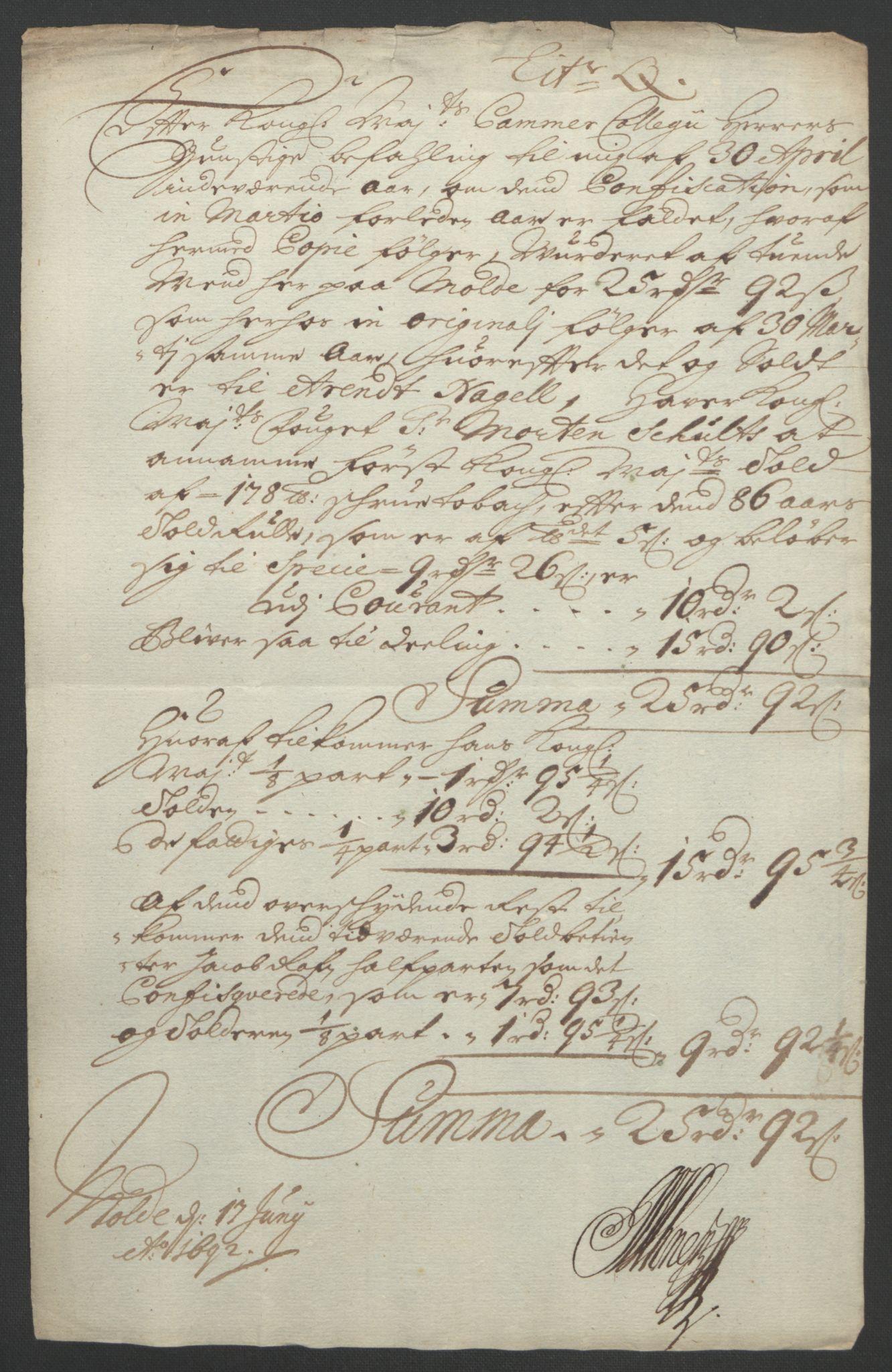 RA, Rentekammeret inntil 1814, Reviderte regnskaper, Fogderegnskap, R55/L3650: Fogderegnskap Romsdal, 1692, s. 170