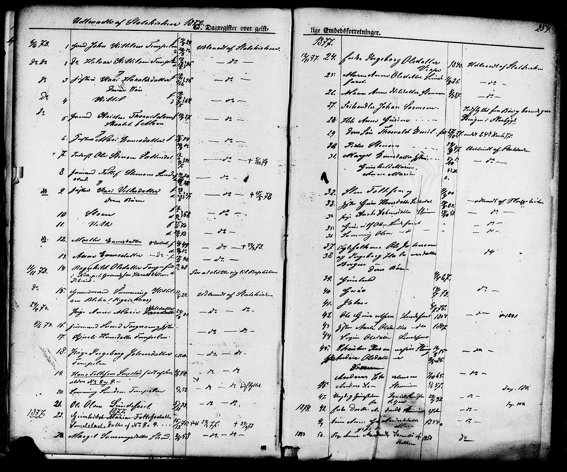 SAKO, Lunde kirkebøker, F/Fa/L0001: Ministerialbok nr. I 1, 1866-1883, s. 254