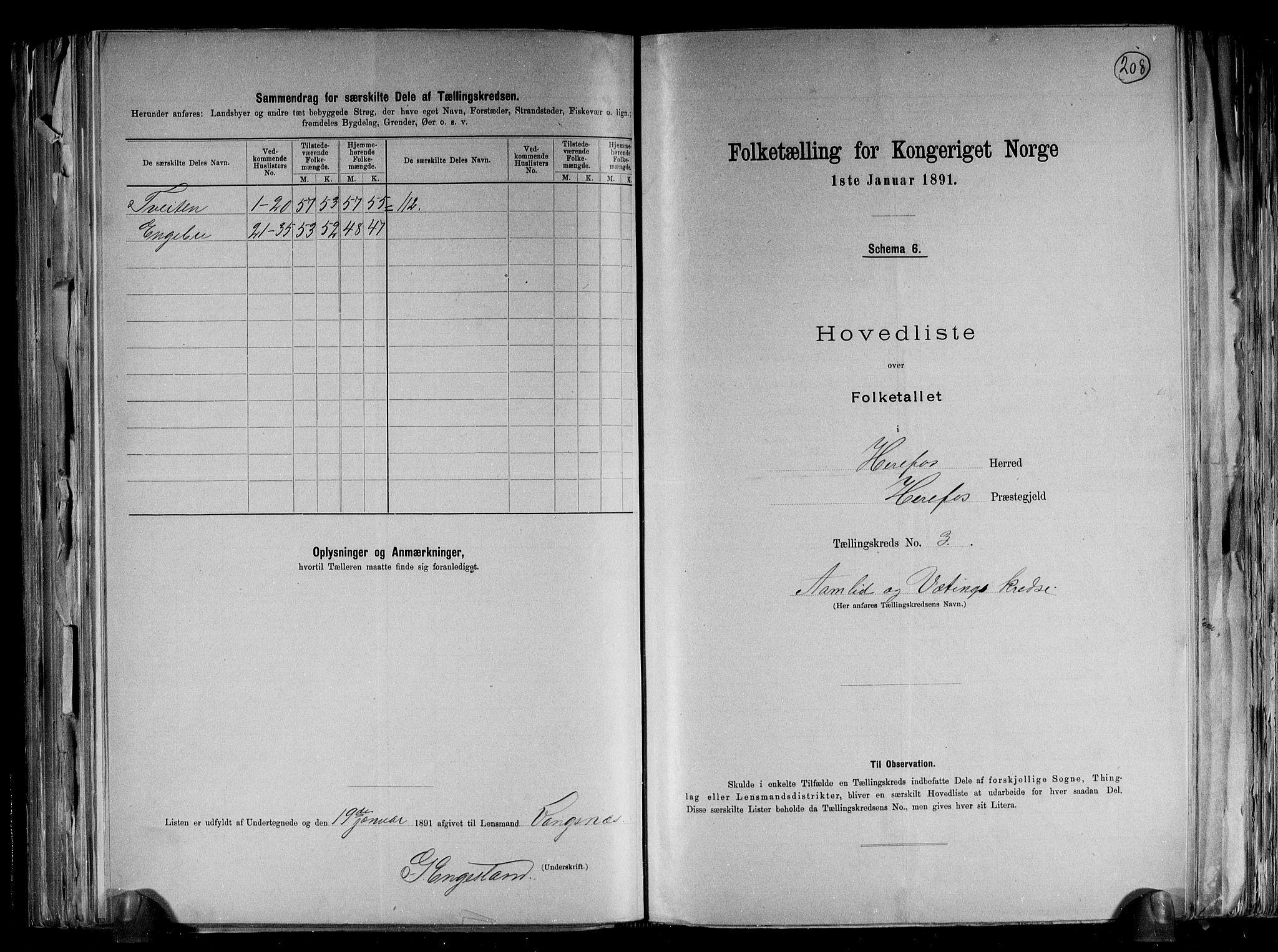RA, Folketelling 1891 for 0933 Herefoss herred, 1891, s. 9