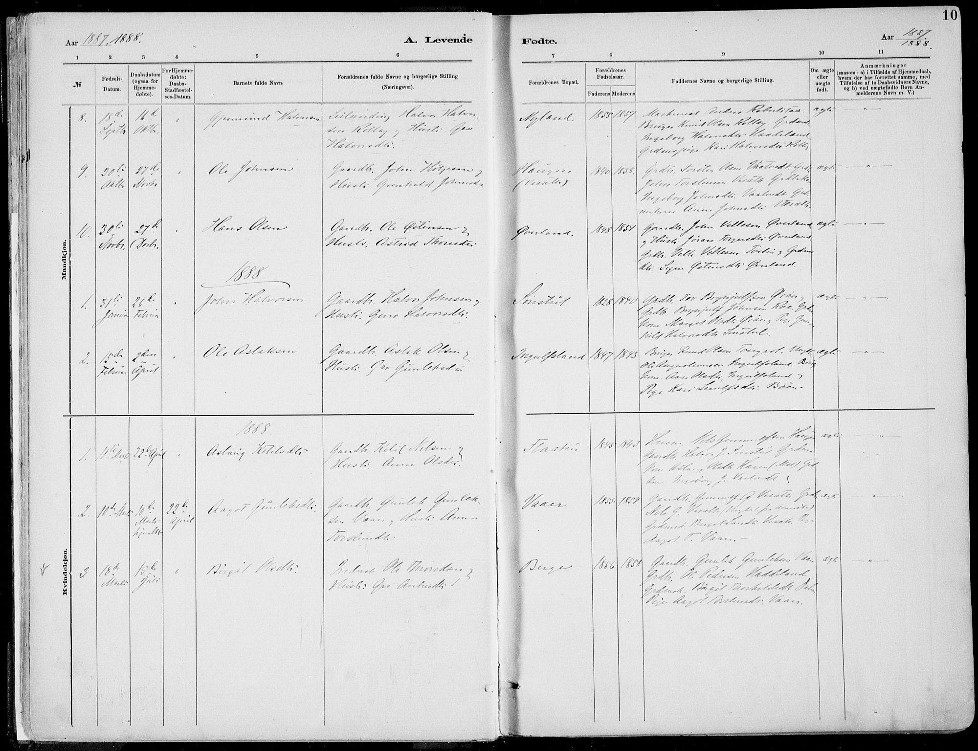 SAKO, Rjukan kirkebøker, F/Fa/L0001: Ministerialbok nr. 1, 1878-1912, s. 10