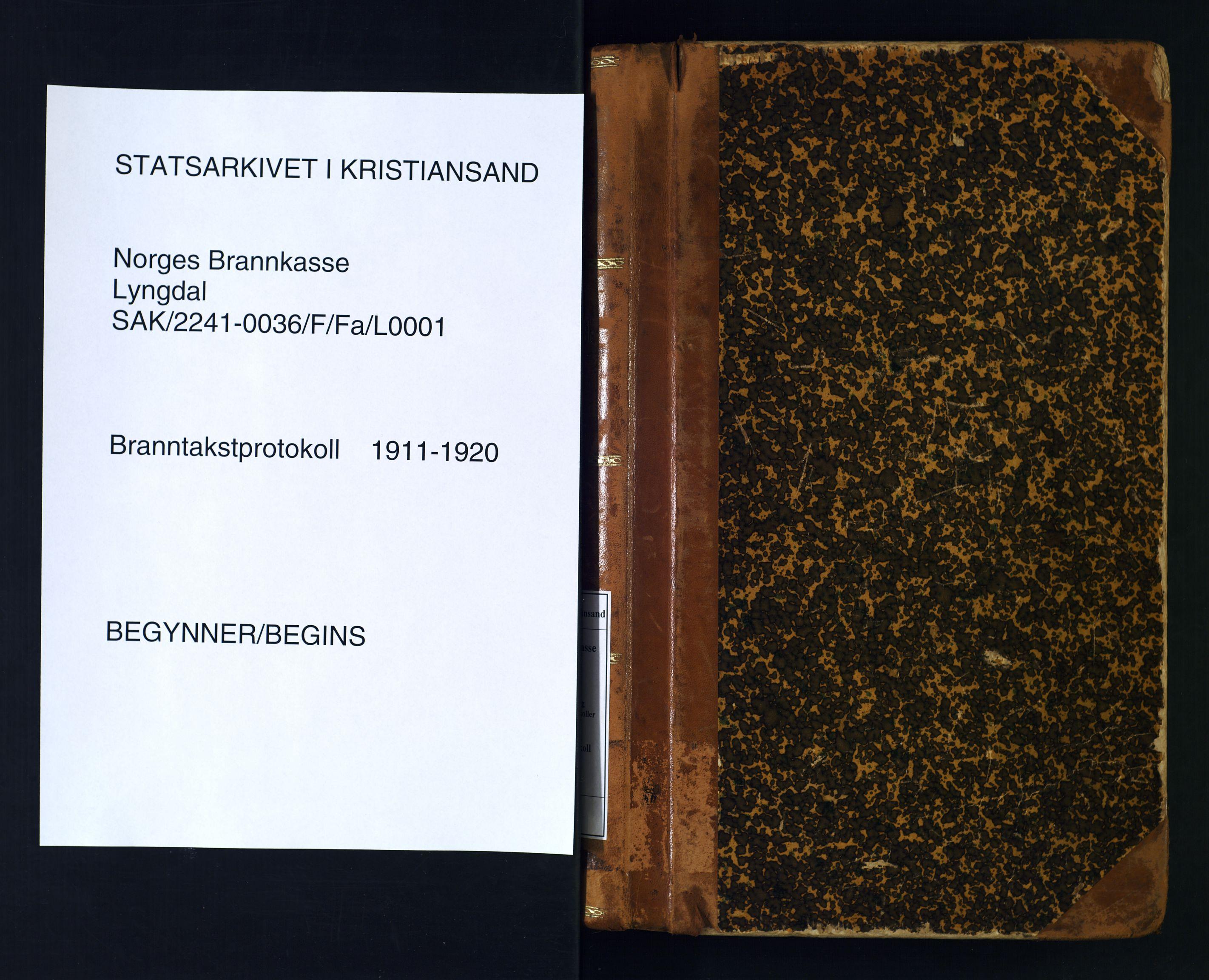 SAK, Norges Brannkasse Lyngdal, F/Fa/L0001: Branntakstprotokoll nr. 1, 1911-1920