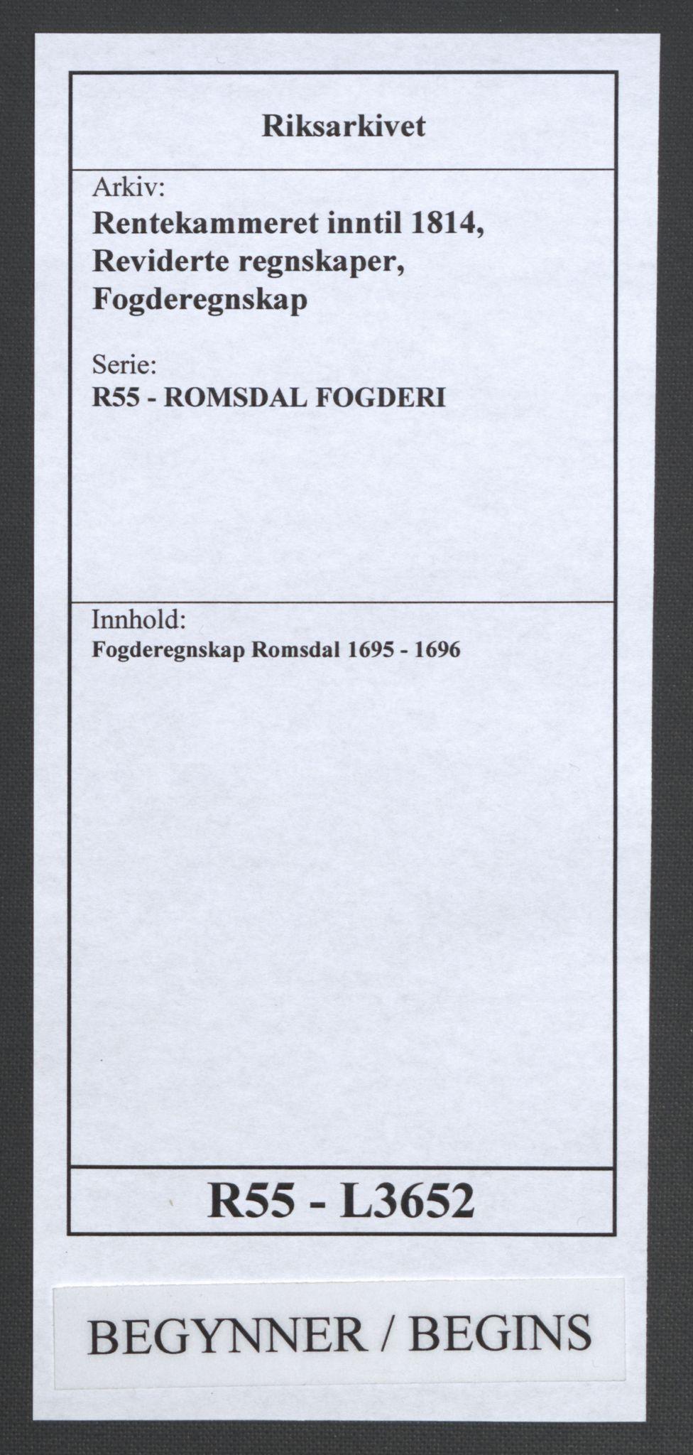 RA, Rentekammeret inntil 1814, Reviderte regnskaper, Fogderegnskap, R55/L3652: Fogderegnskap Romsdal, 1695-1696, s. 1