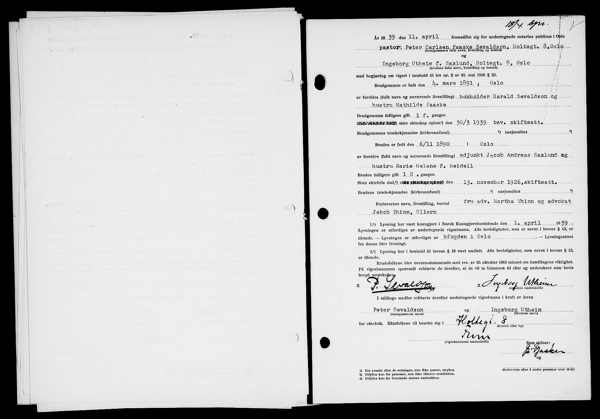 SAO, Oslo byfogd avd. I, L/Lb/Lbb/L0031: Notarialprotokoll, rekke II: Vigsler, 1938-1939
