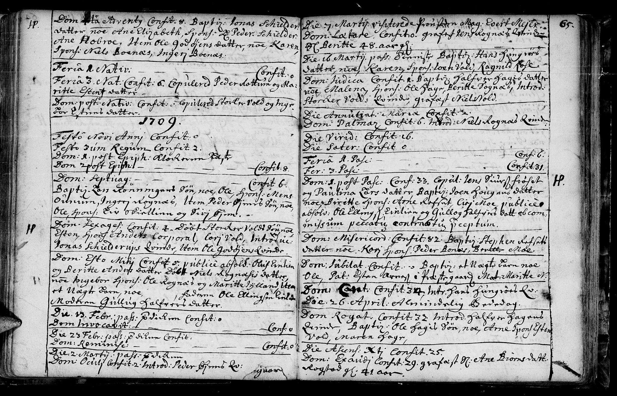SAT, Ministerialprotokoller, klokkerbøker og fødselsregistre - Sør-Trøndelag, 687/L0990: Ministerialbok nr. 687A01, 1690-1746, s. 65