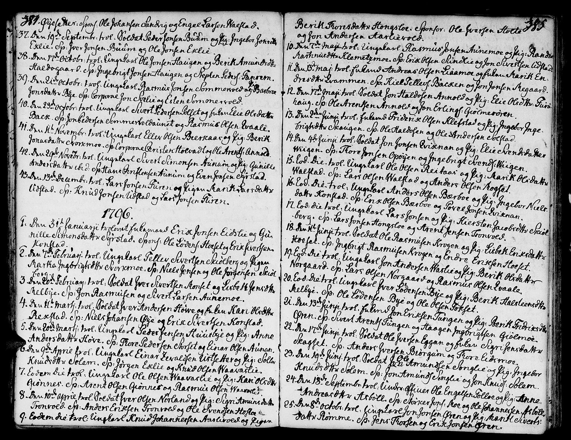 SAT, Ministerialprotokoller, klokkerbøker og fødselsregistre - Sør-Trøndelag, 668/L0802: Ministerialbok nr. 668A02, 1776-1799, s. 384-385