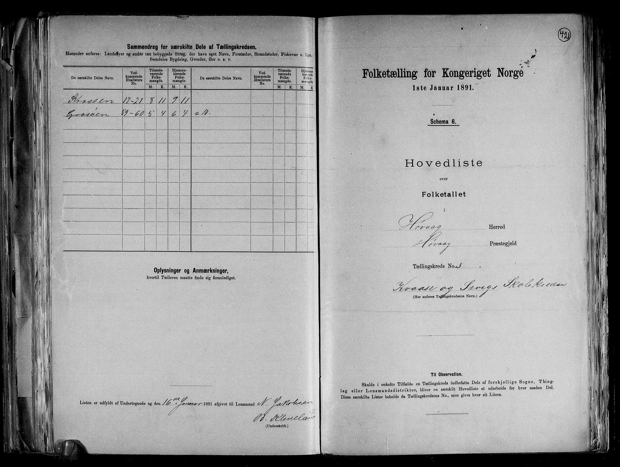 RA, Folketelling 1891 for 0927 Høvåg herred, 1891, s. 9