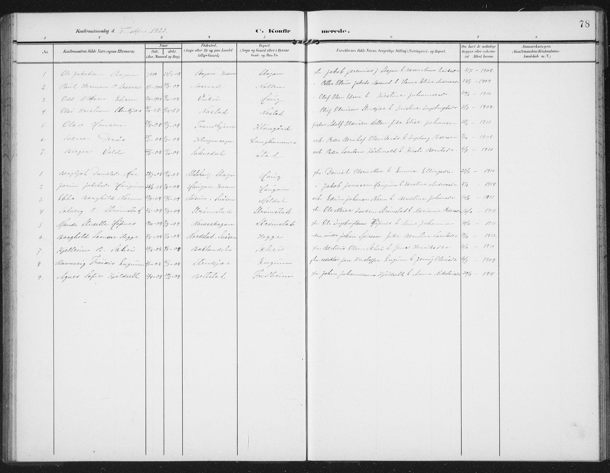 SAT, Ministerialprotokoller, klokkerbøker og fødselsregistre - Nord-Trøndelag, 747/L0460: Klokkerbok nr. 747C02, 1908-1939, s. 78