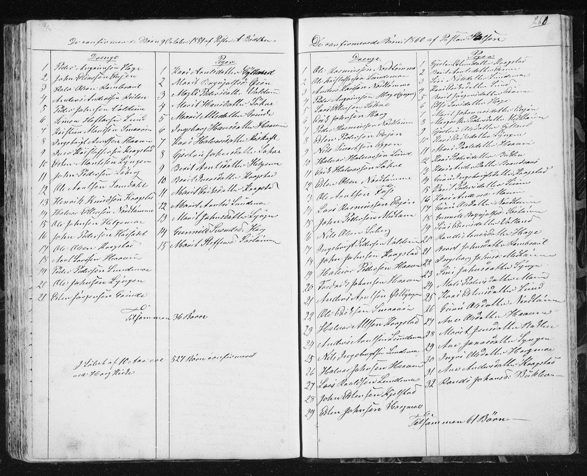SAT, Ministerialprotokoller, klokkerbøker og fødselsregistre - Sør-Trøndelag, 692/L1110: Klokkerbok nr. 692C05, 1849-1889, s. 260