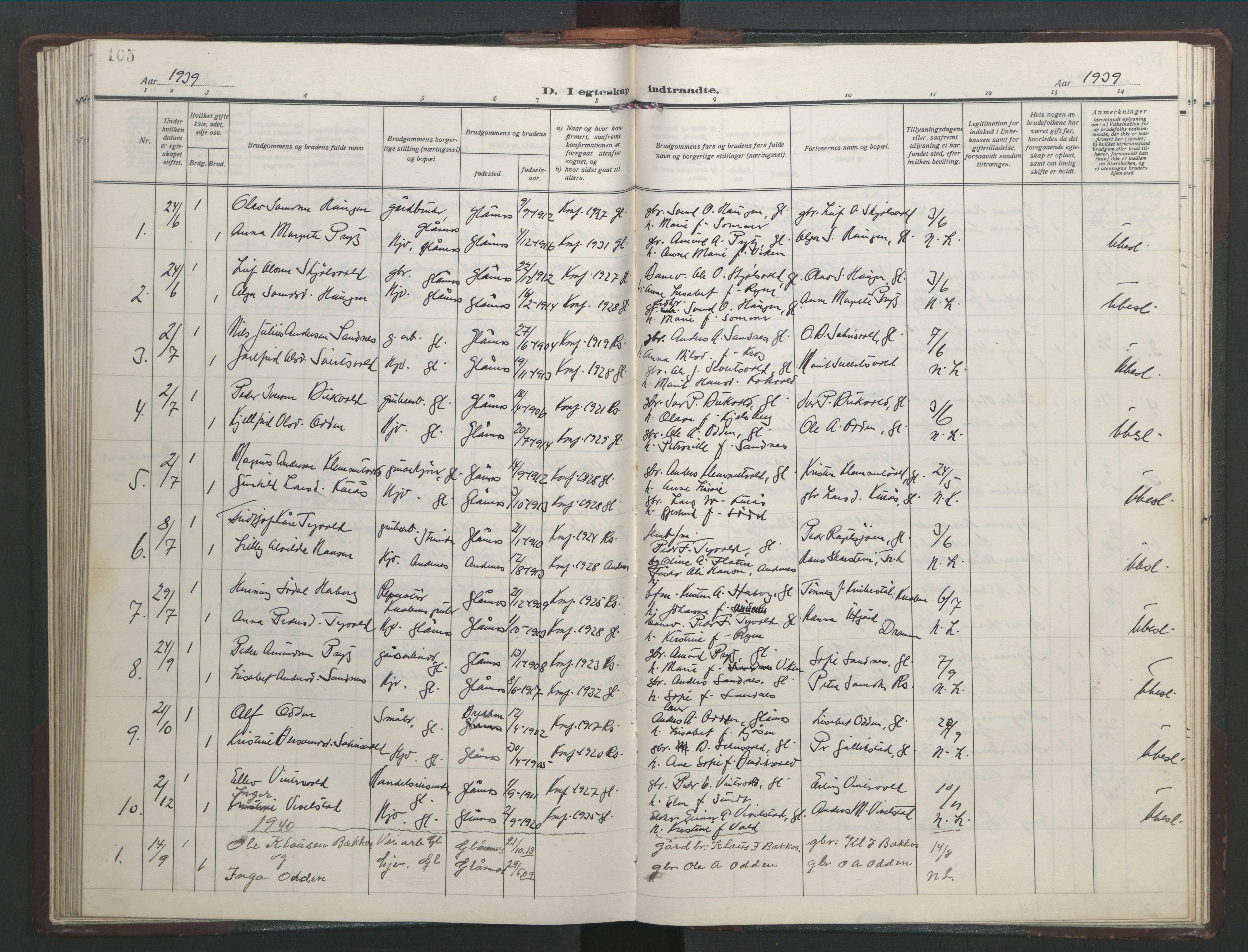 SAT, Ministerialprotokoller, klokkerbøker og fødselsregistre - Sør-Trøndelag, 682/L0947: Klokkerbok nr. 682C01, 1926-1968, s. 105