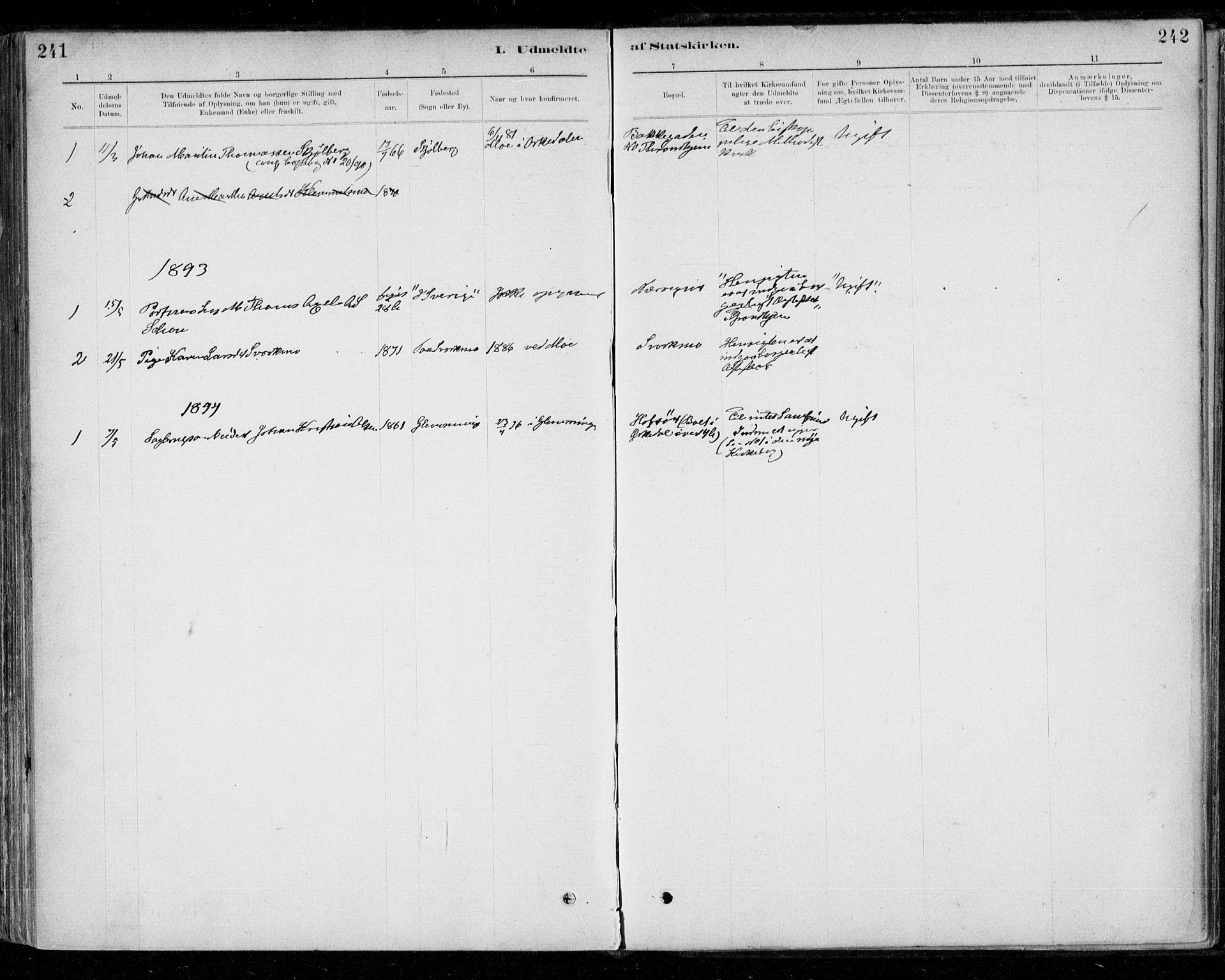 SAT, Ministerialprotokoller, klokkerbøker og fødselsregistre - Sør-Trøndelag, 668/L0810: Ministerialbok nr. 668A10, 1881-1894, s. 242