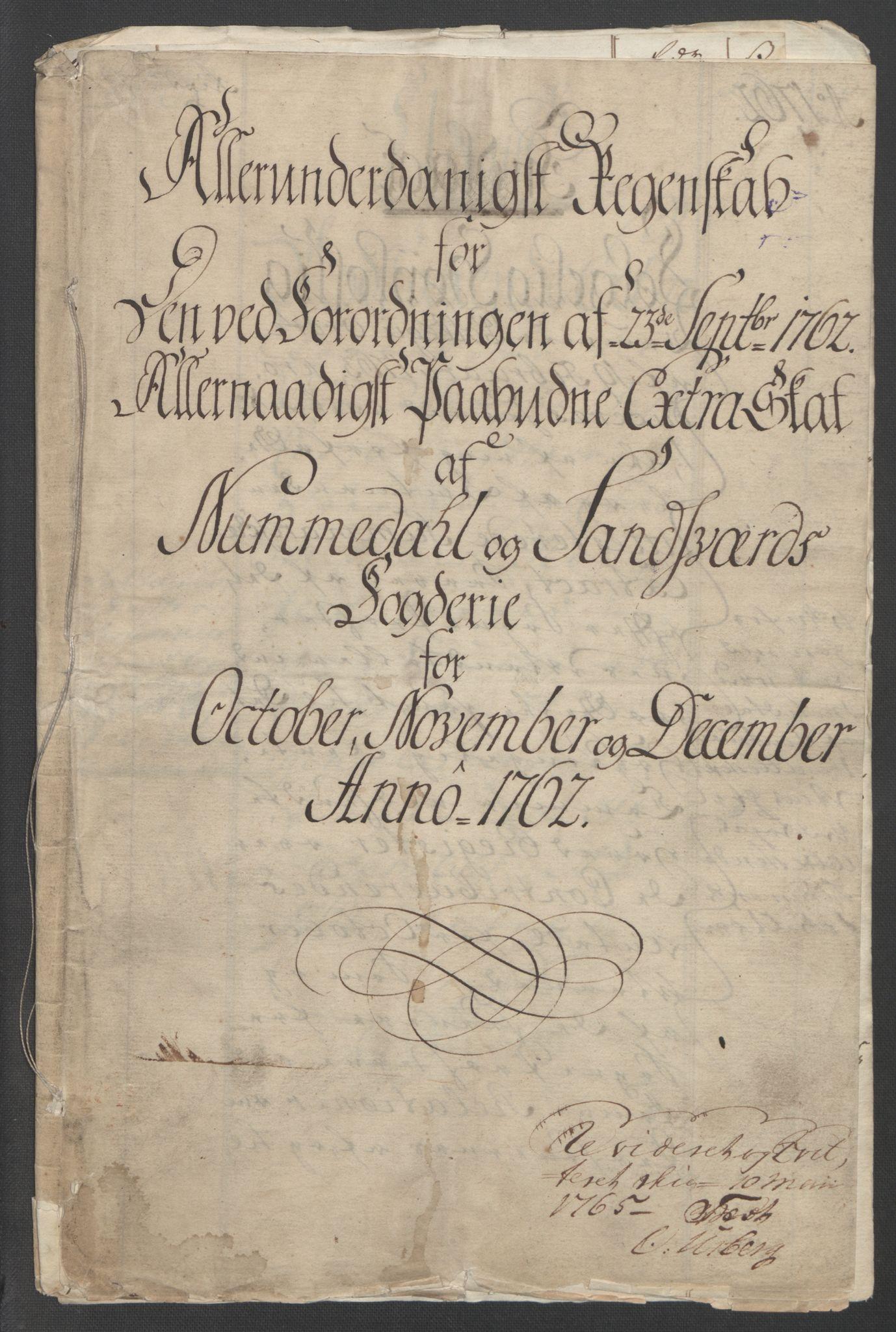 RA, Rentekammeret inntil 1814, Reviderte regnskaper, Fogderegnskap, R24/L1672: Ekstraskatten Numedal og Sandsvær, 1762-1767, s. 3