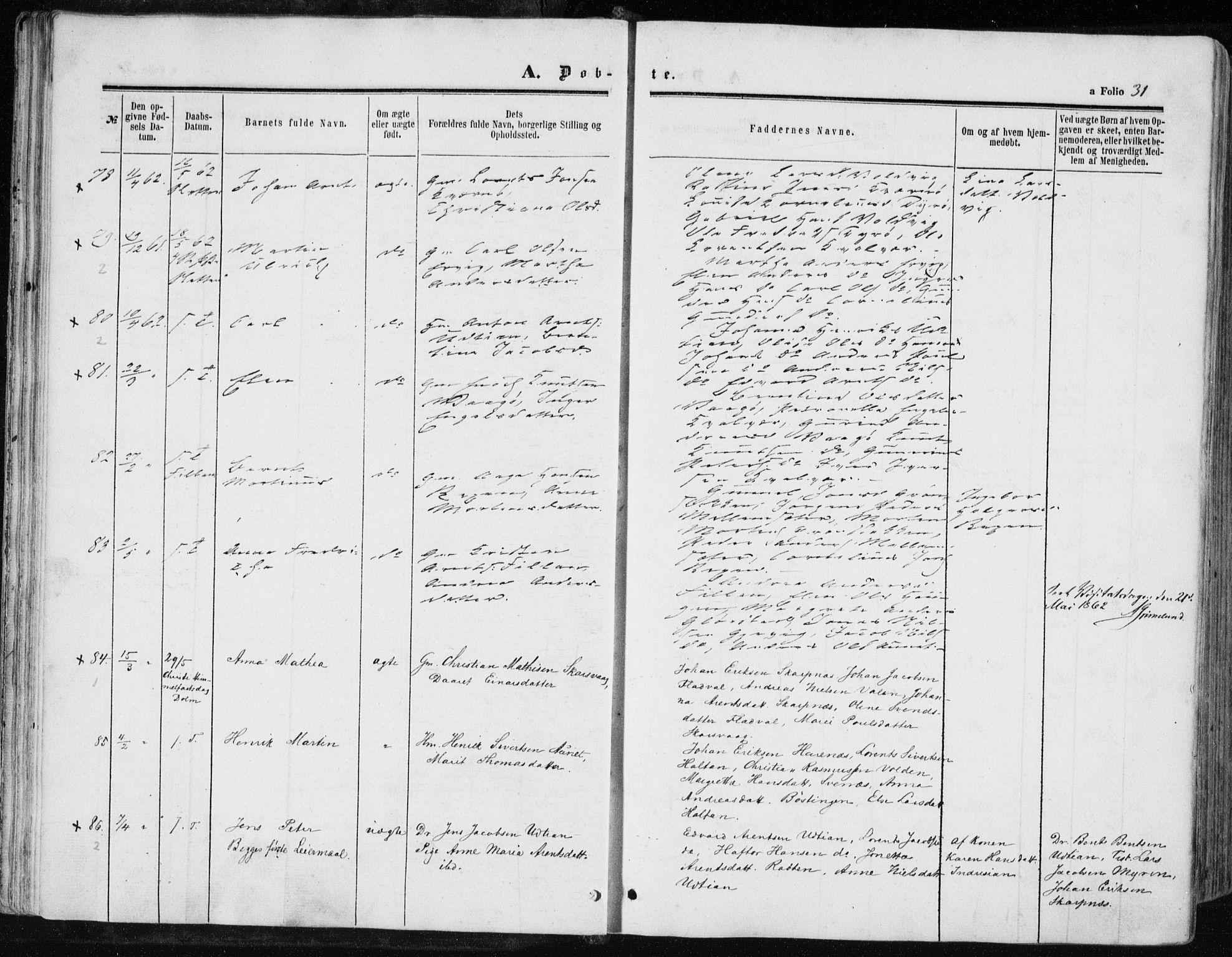 SAT, Ministerialprotokoller, klokkerbøker og fødselsregistre - Sør-Trøndelag, 634/L0531: Ministerialbok nr. 634A07, 1861-1870, s. 31