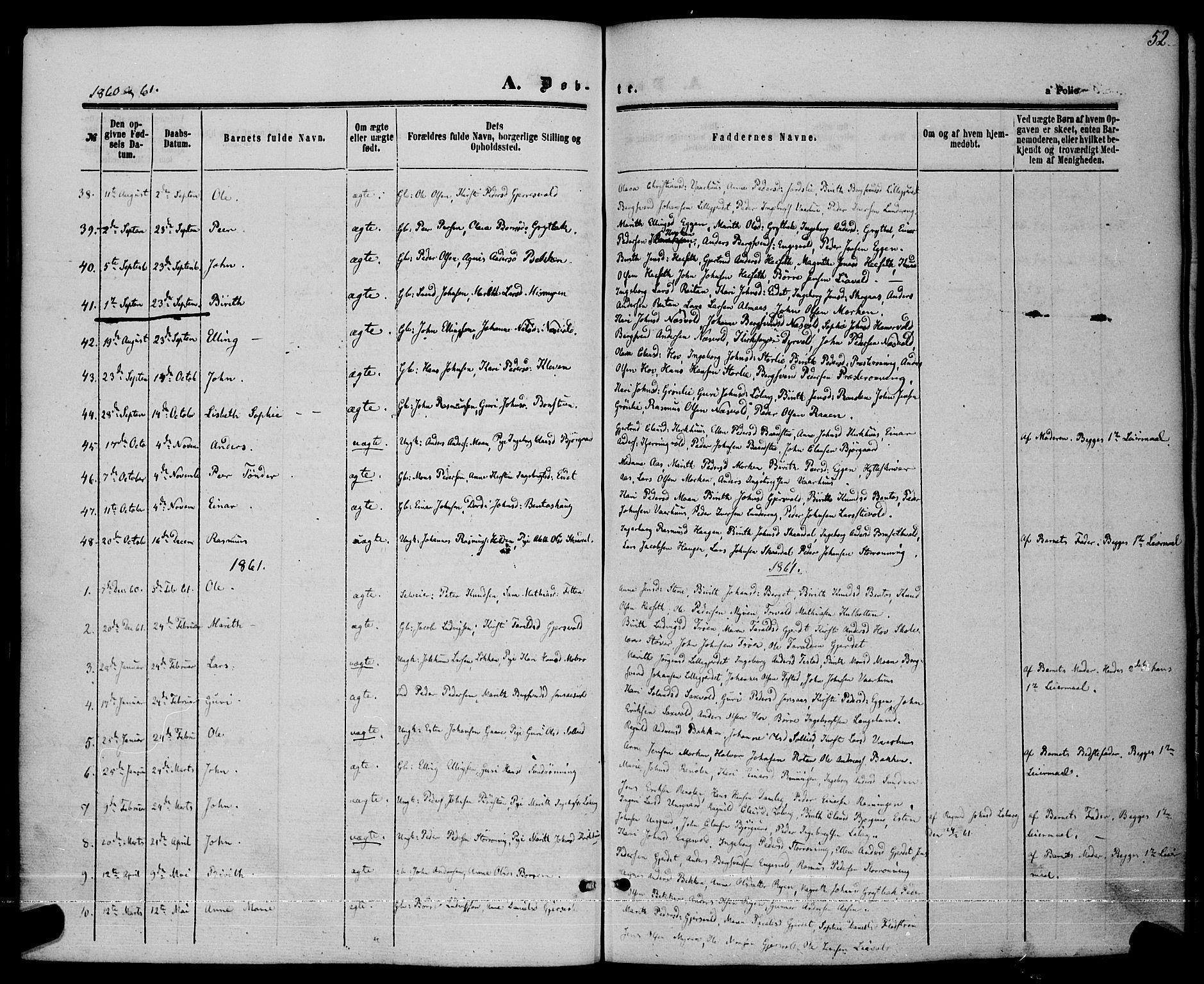 SAT, Ministerialprotokoller, klokkerbøker og fødselsregistre - Sør-Trøndelag, 685/L0968: Ministerialbok nr. 685A07 /3, 1860-1869, s. 52