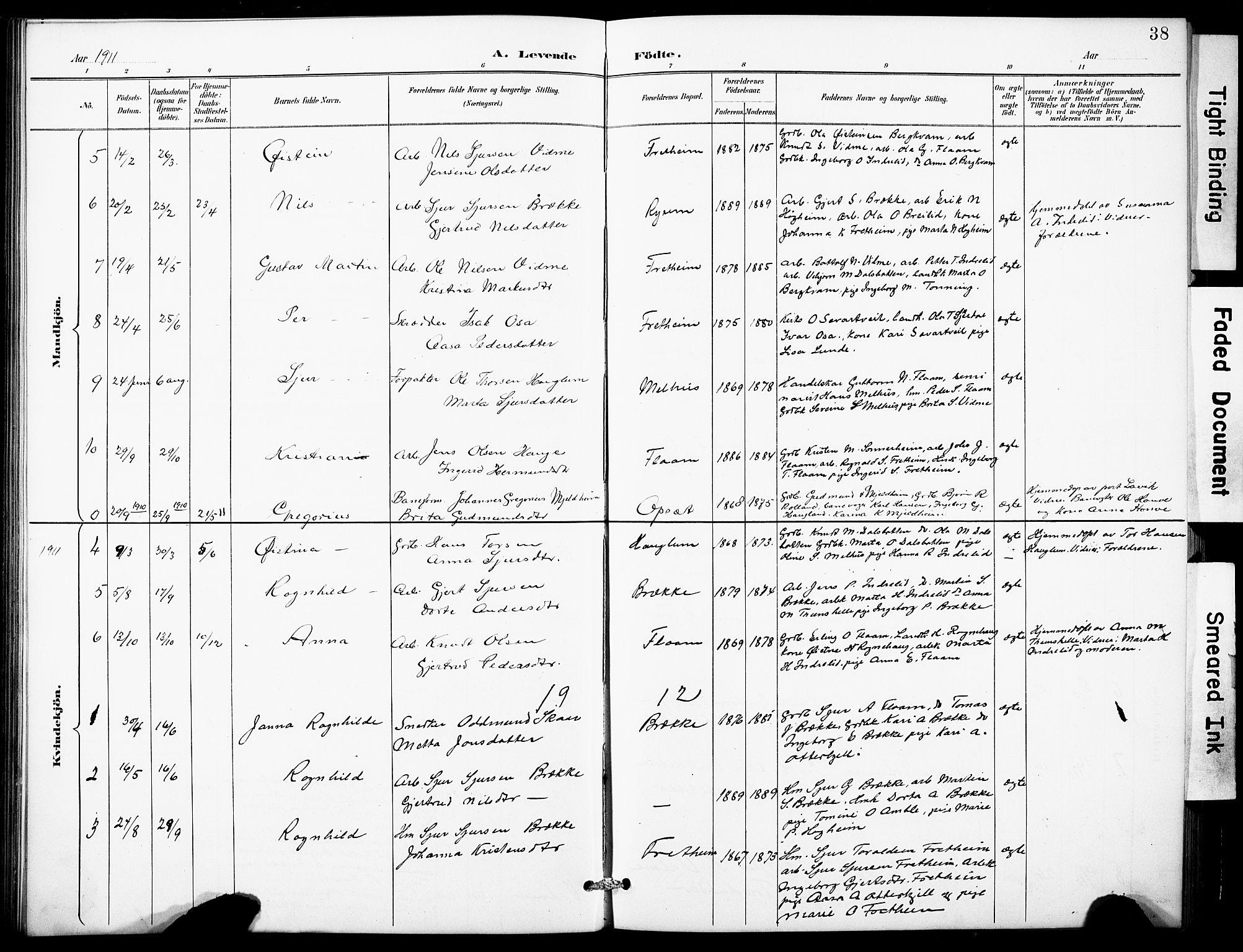 SAB, Aurland Sokneprestembete*, Klokkerbok nr. B 2, 1887-1929, s. 38
