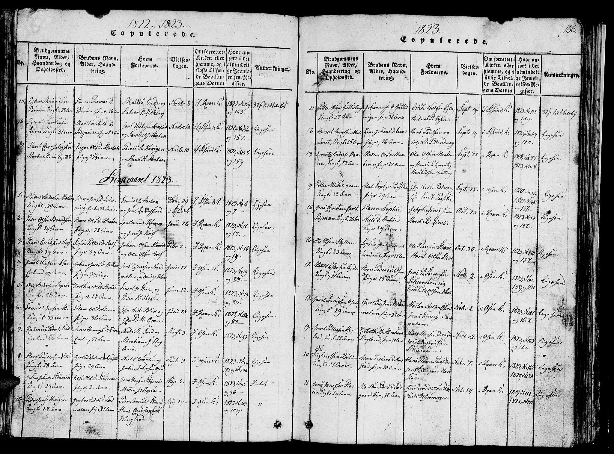 SAT, Ministerialprotokoller, klokkerbøker og fødselsregistre - Sør-Trøndelag, 657/L0714: Klokkerbok nr. 657C01, 1818-1868, s. 188