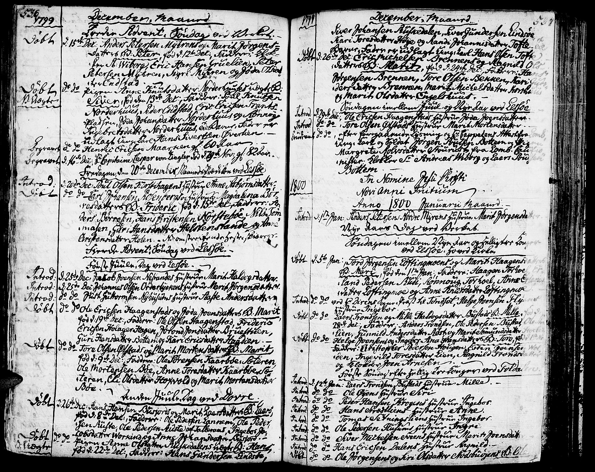 SAH, Lesja prestekontor, Ministerialbok nr. 3, 1777-1819, s. 536-537
