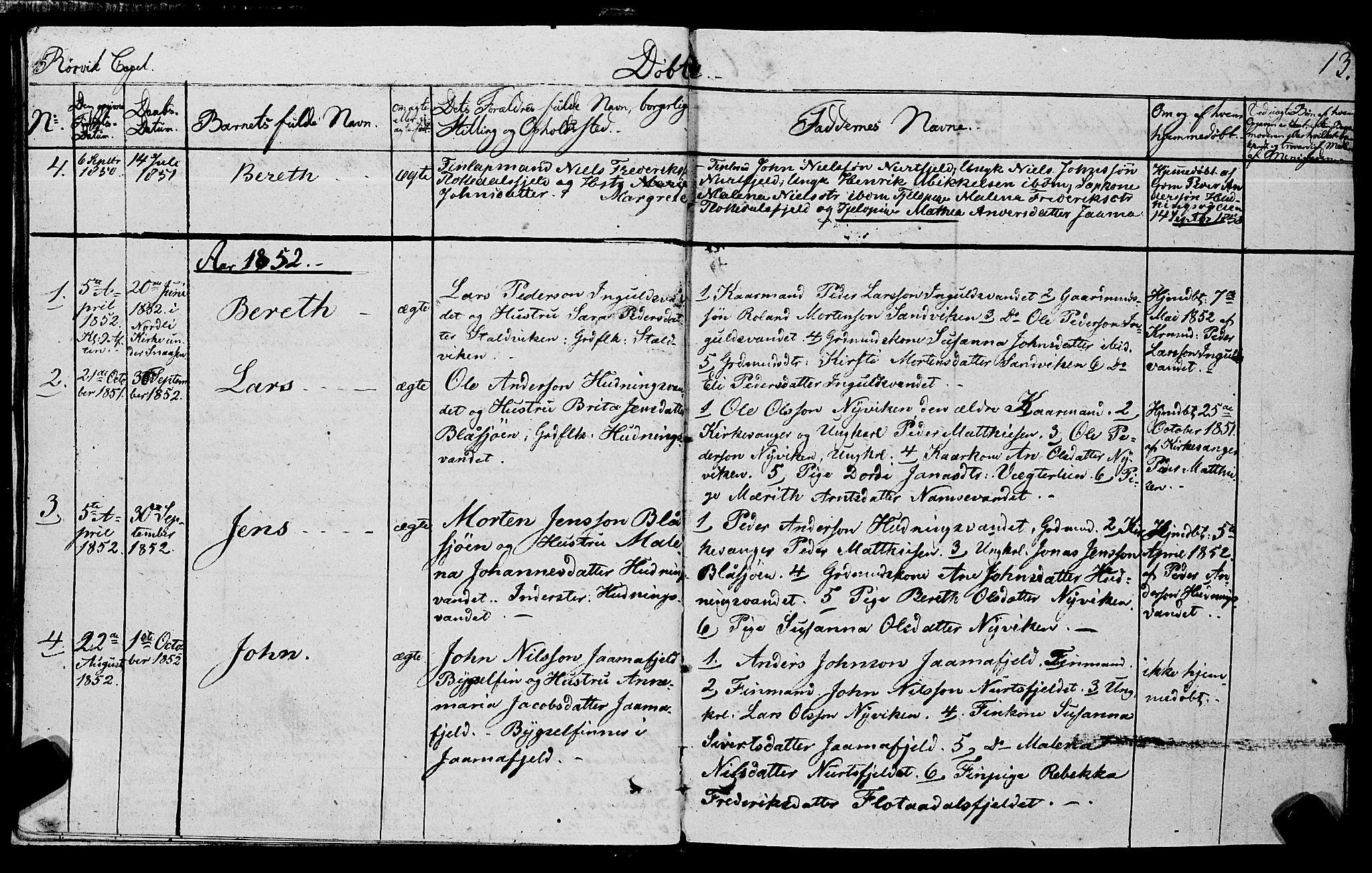 SAT, Ministerialprotokoller, klokkerbøker og fødselsregistre - Nord-Trøndelag, 762/L0538: Ministerialbok nr. 762A02 /1, 1833-1879, s. 13