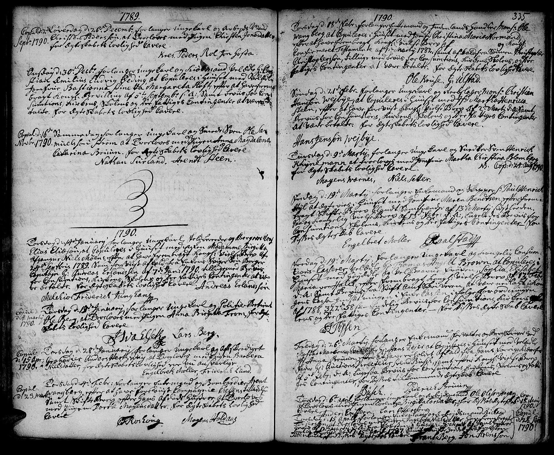 SAT, Ministerialprotokoller, klokkerbøker og fødselsregistre - Sør-Trøndelag, 601/L0038: Ministerialbok nr. 601A06, 1766-1877, s. 335