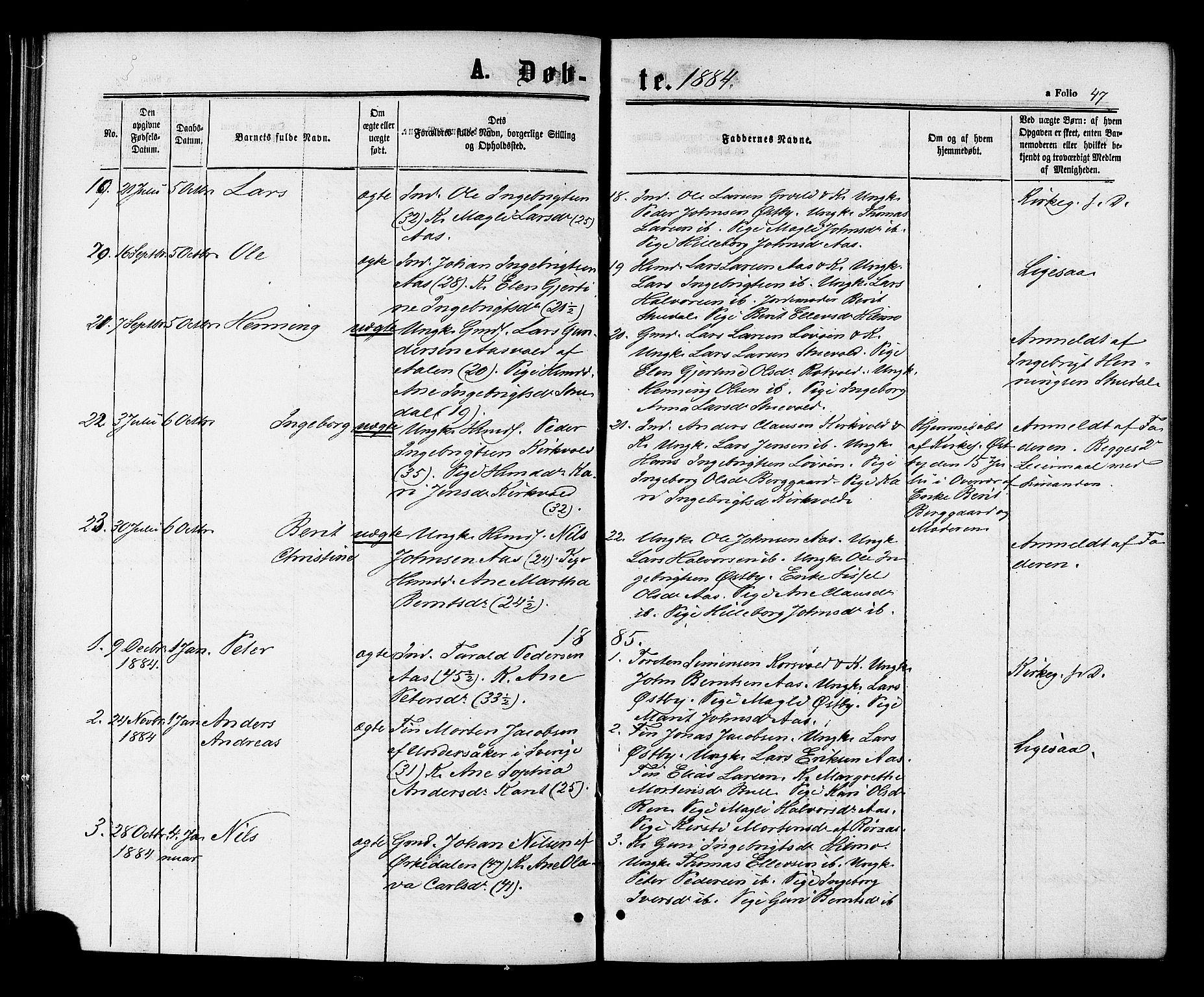 SAT, Ministerialprotokoller, klokkerbøker og fødselsregistre - Sør-Trøndelag, 698/L1163: Ministerialbok nr. 698A01, 1862-1887, s. 47