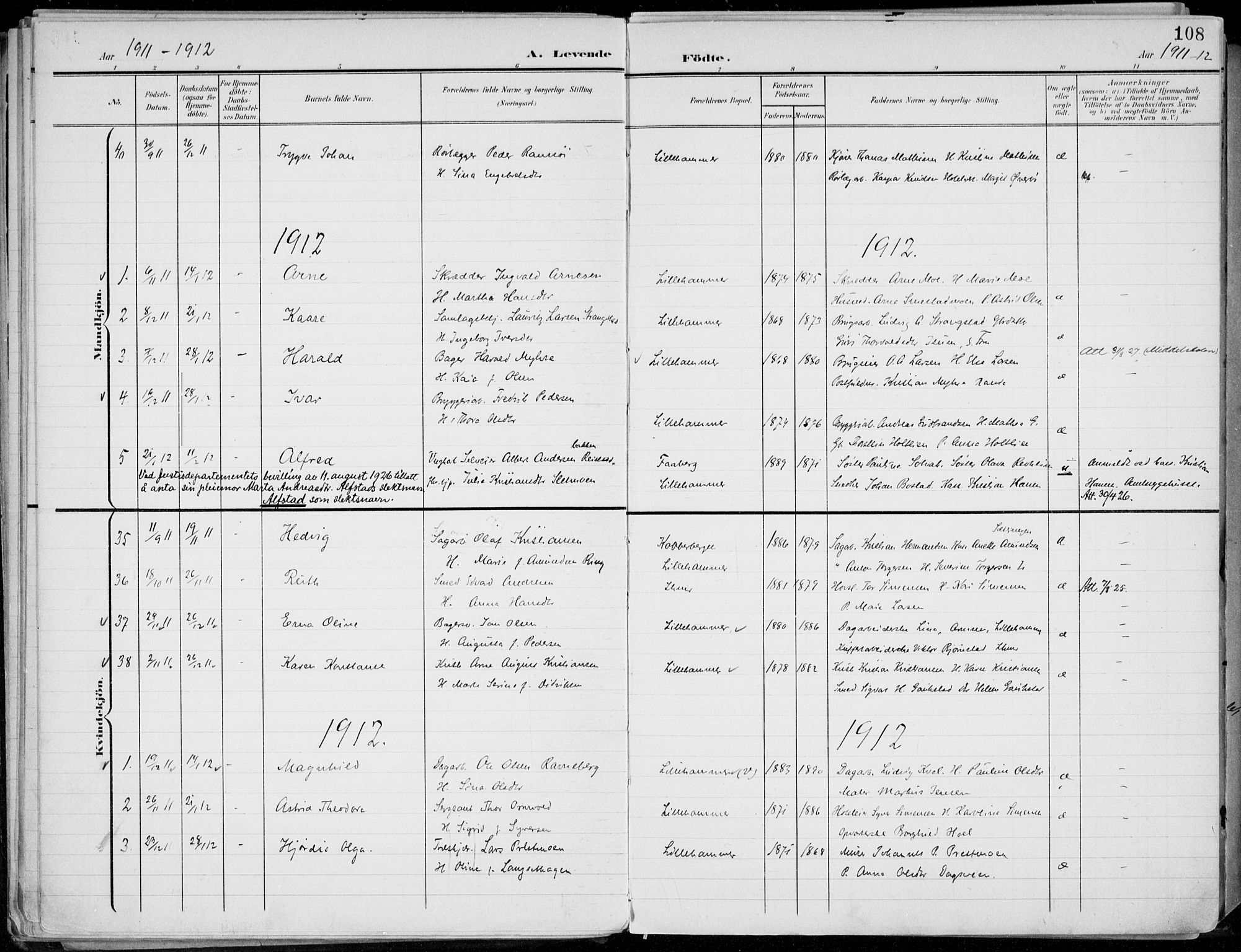 SAH, Lillehammer prestekontor, Ministerialbok nr. 1, 1901-1916, s. 108