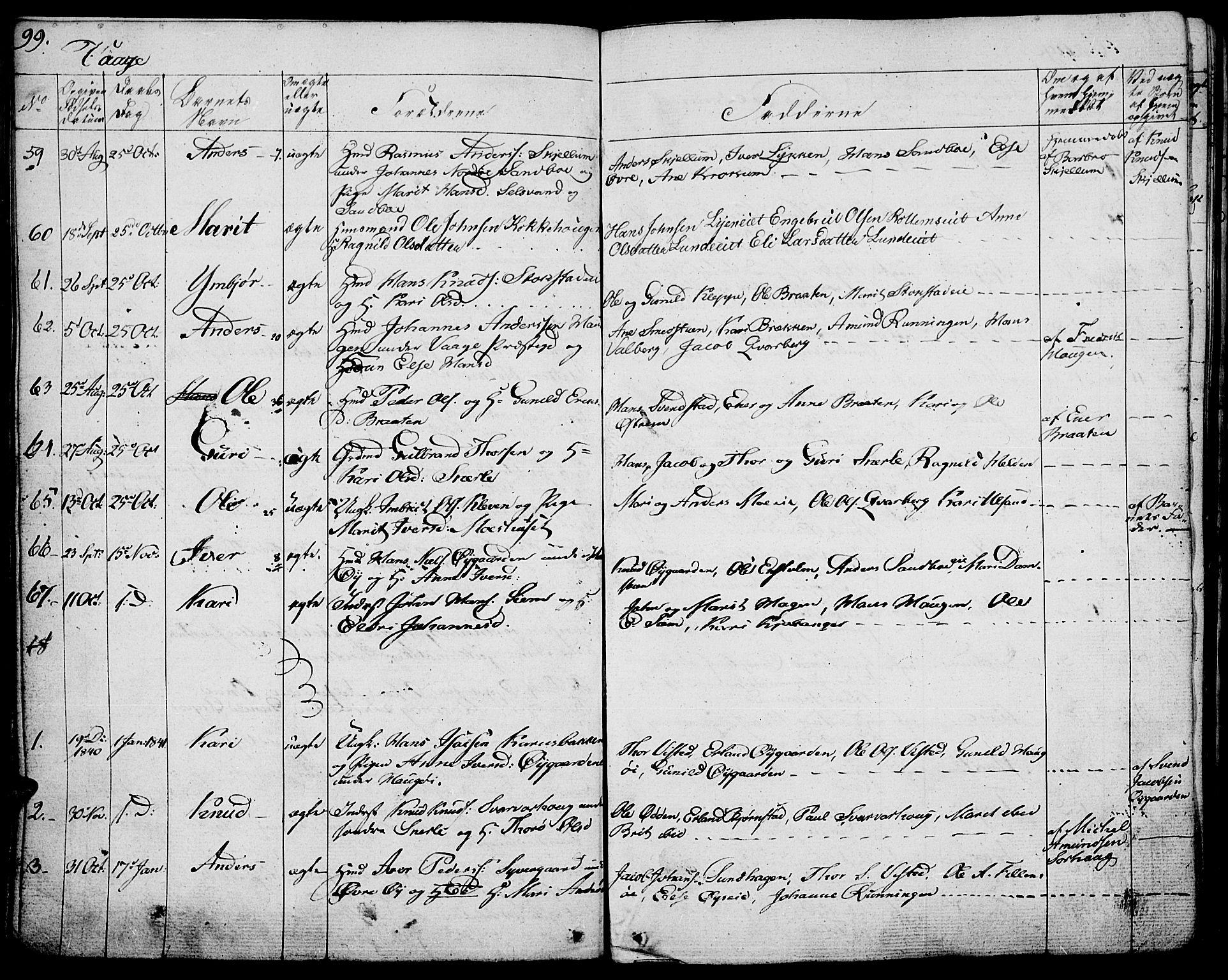 SAH, Vågå prestekontor, Ministerialbok nr. 4 /1, 1827-1842, s. 99