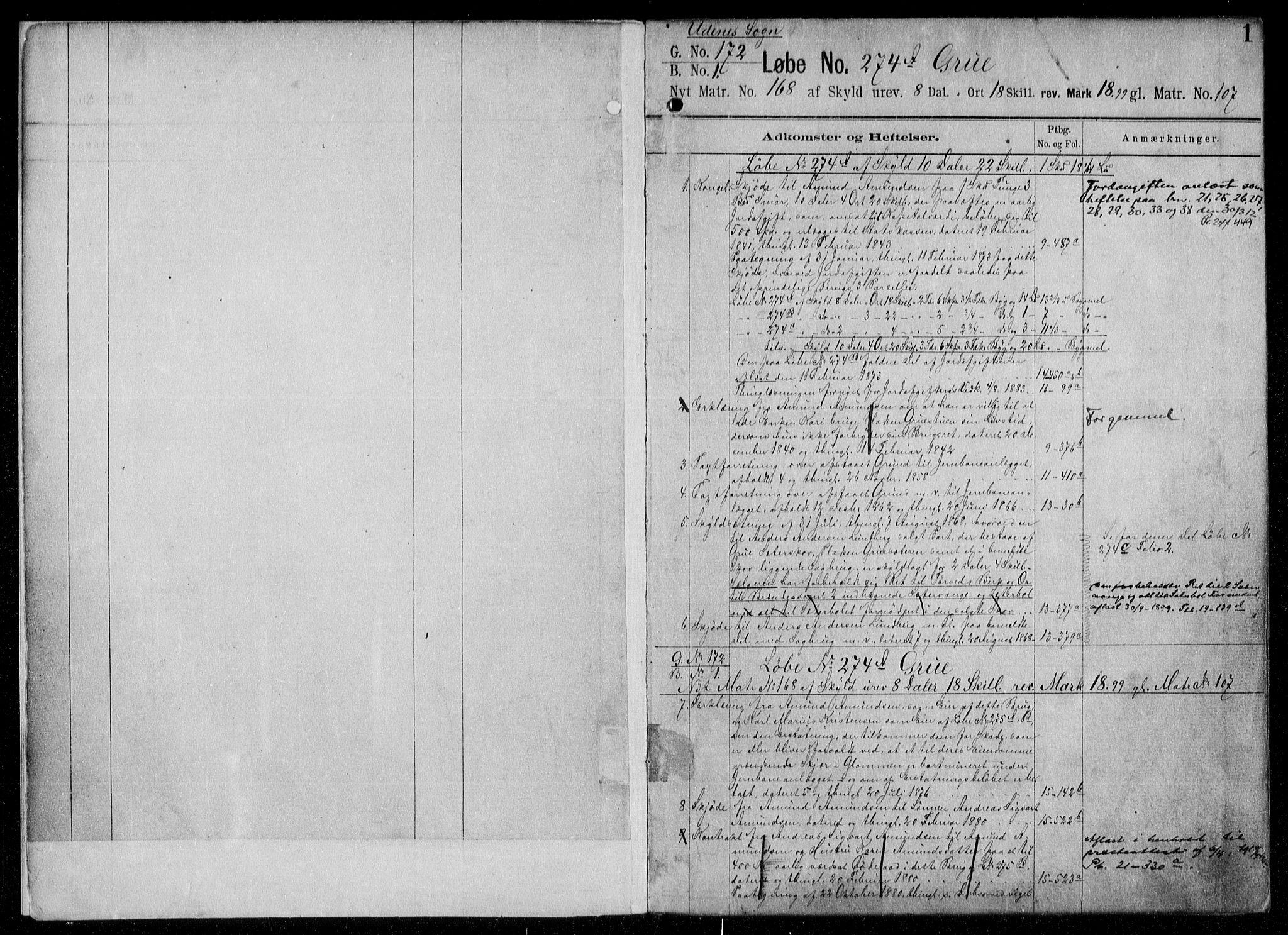 SAO, Nes tingrett, G/Ga/Gab/Gaba/L0006.a: Panteregister nr. I 6a, s. 1