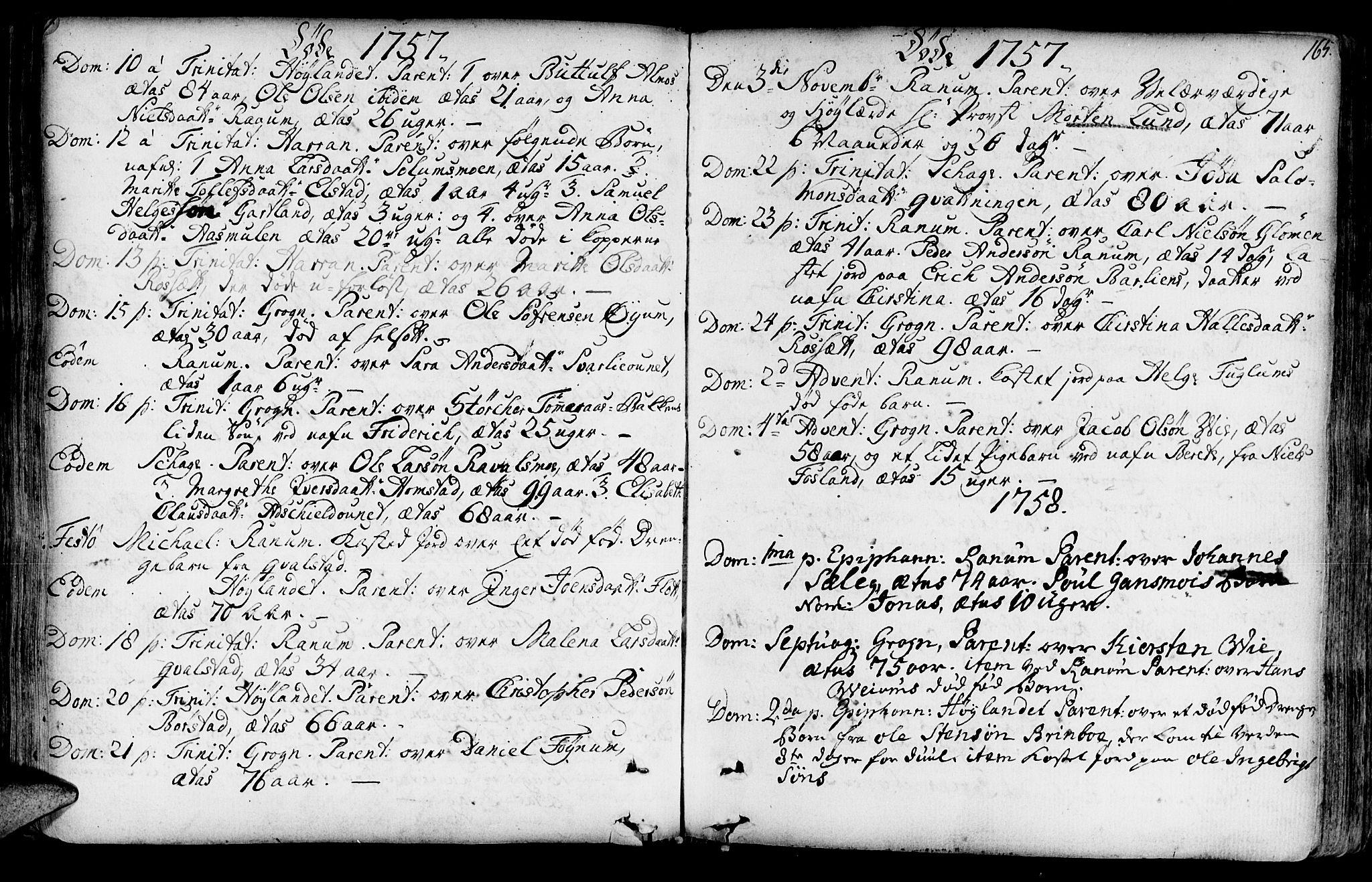 SAT, Ministerialprotokoller, klokkerbøker og fødselsregistre - Nord-Trøndelag, 764/L0542: Ministerialbok nr. 764A02, 1748-1779, s. 165