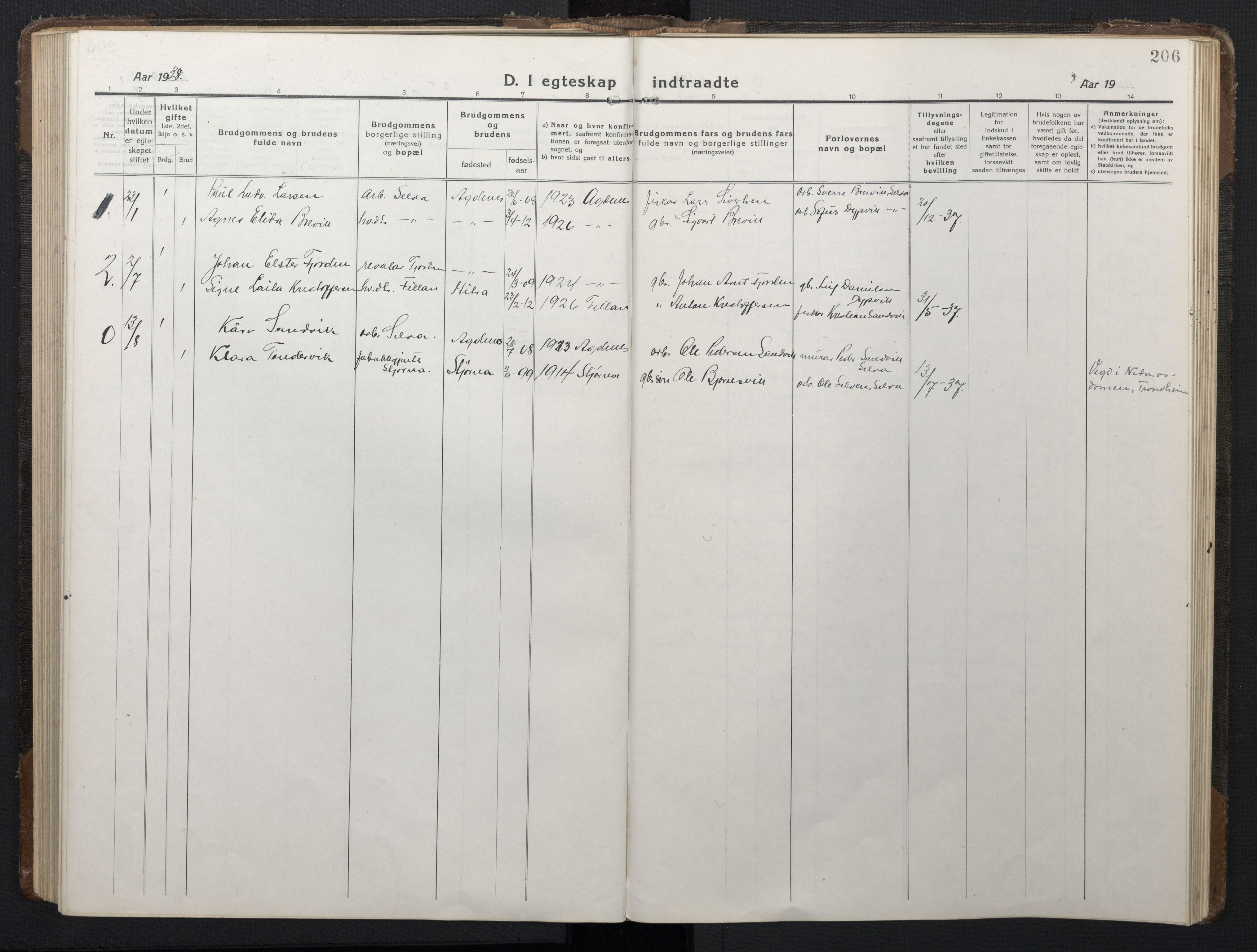 SAT, Ministerialprotokoller, klokkerbøker og fødselsregistre - Sør-Trøndelag, 662/L0758: Klokkerbok nr. 662C03, 1918-1948, s. 206