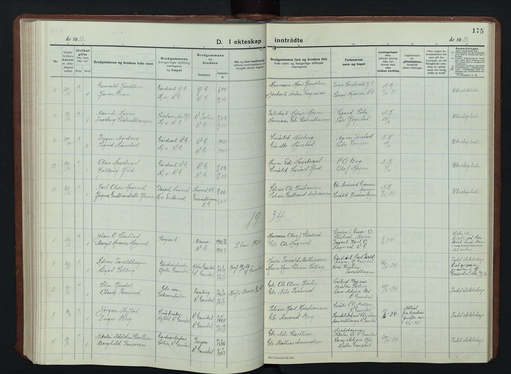 SAH, Vestre Gausdal prestekontor, Klokkerbok nr. 5, 1926-1955, s. 175