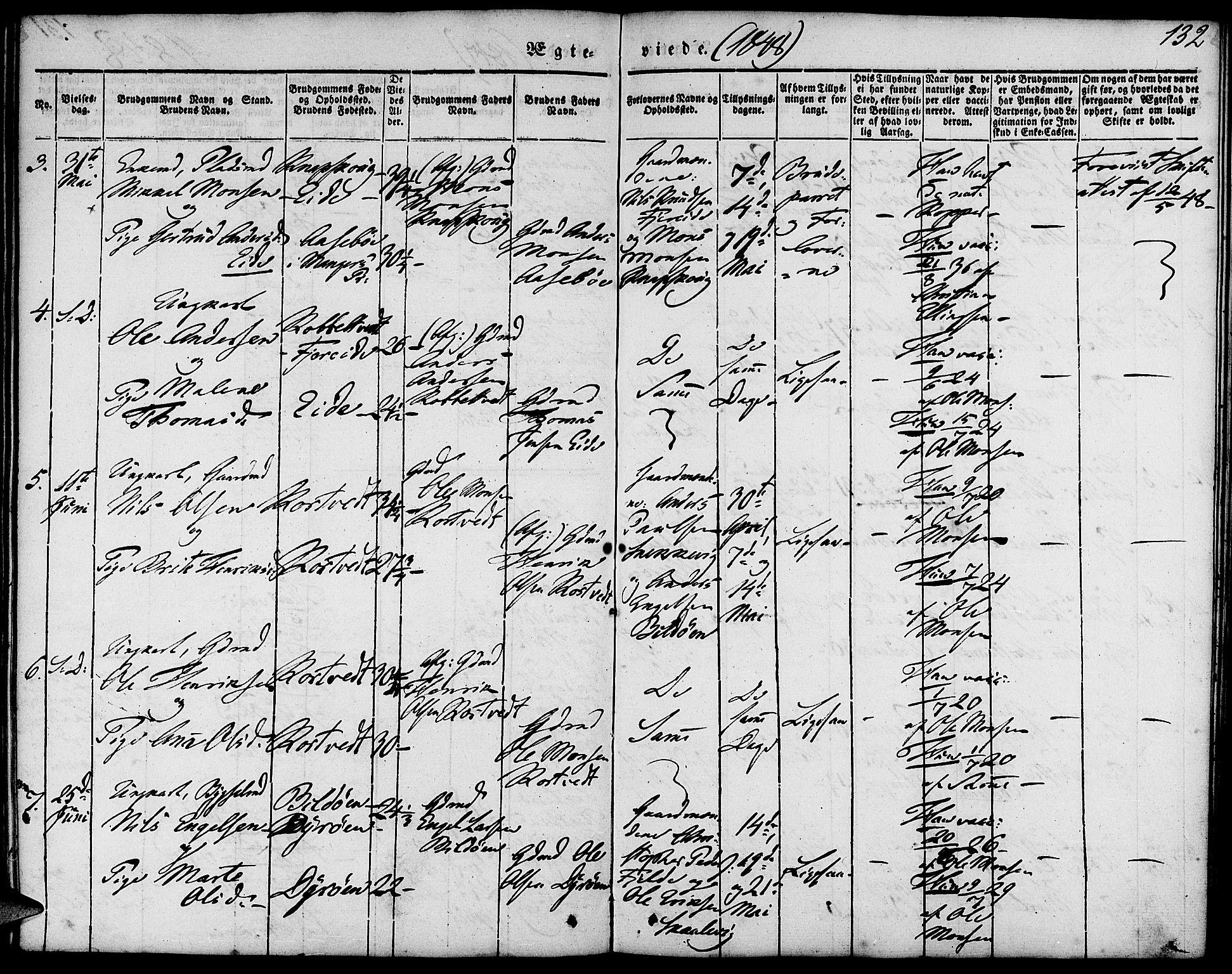 SAB, Fjell sokneprestembete, H/Haa: Ministerialbok nr. A 1, 1835-1850, s. 132