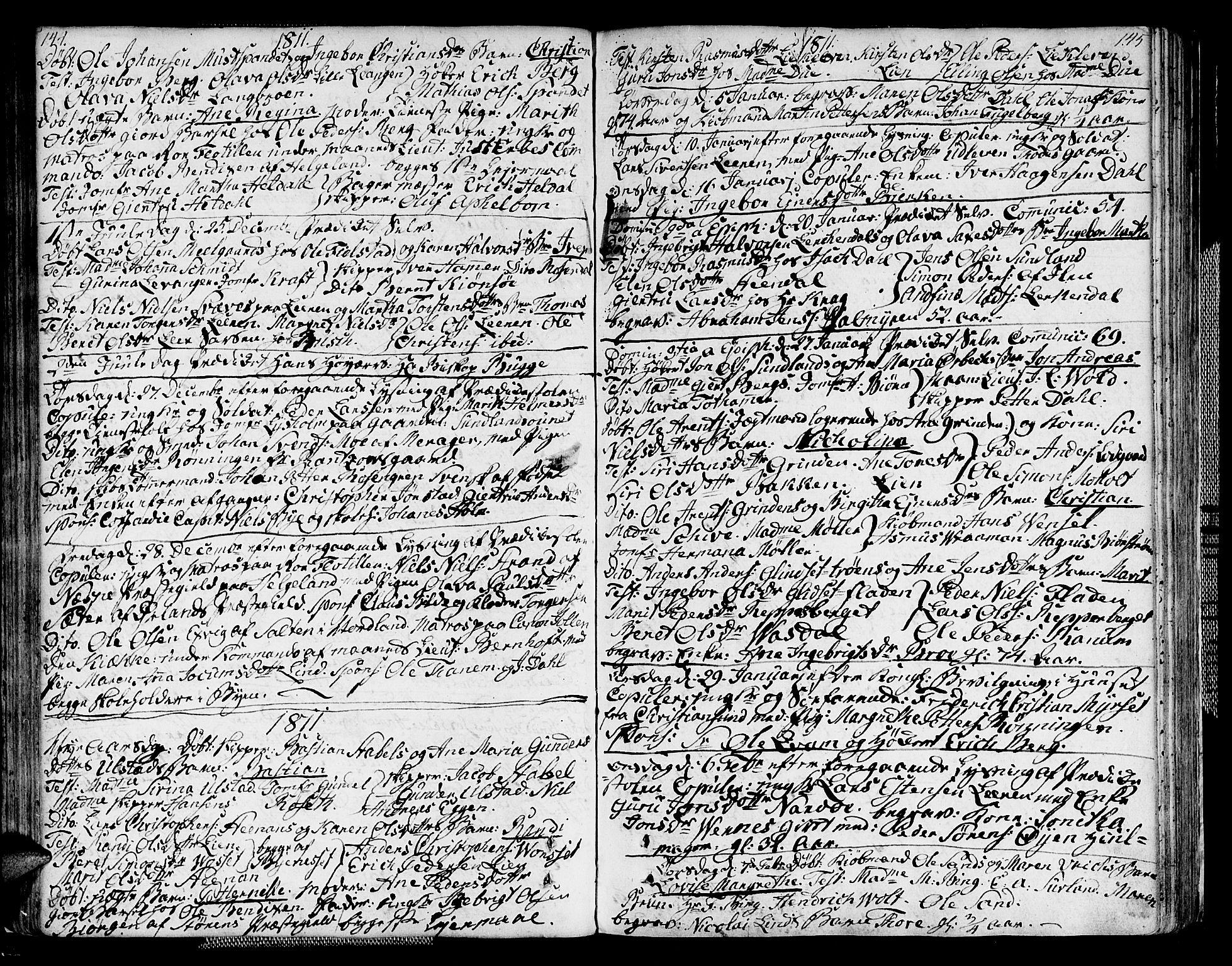 SAT, Ministerialprotokoller, klokkerbøker og fødselsregistre - Sør-Trøndelag, 604/L0181: Ministerialbok nr. 604A02, 1798-1817, s. 144-145