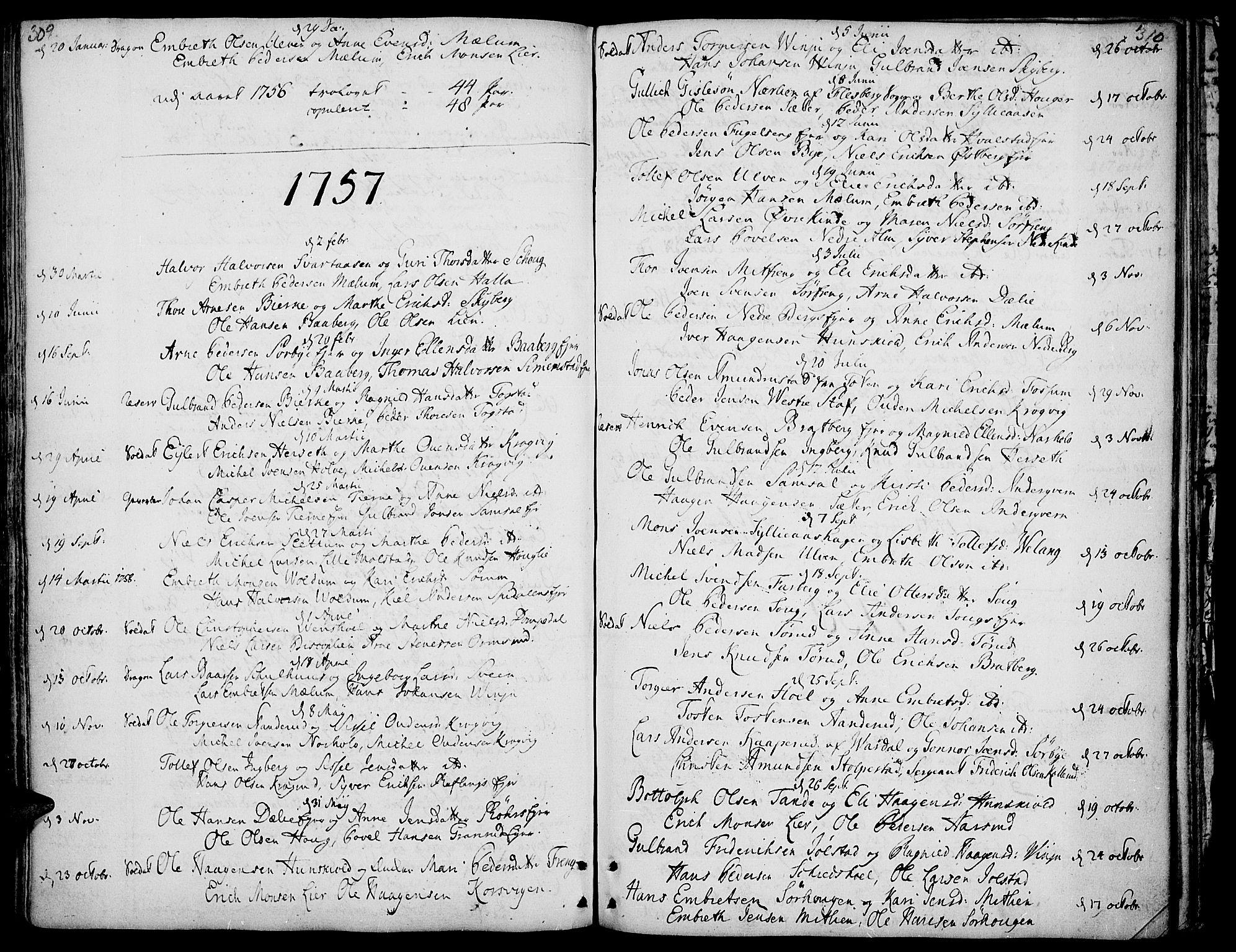 SAH, Ringsaker prestekontor, K/Ka/L0002: Ministerialbok nr. 2, 1747-1774, s. 309-310
