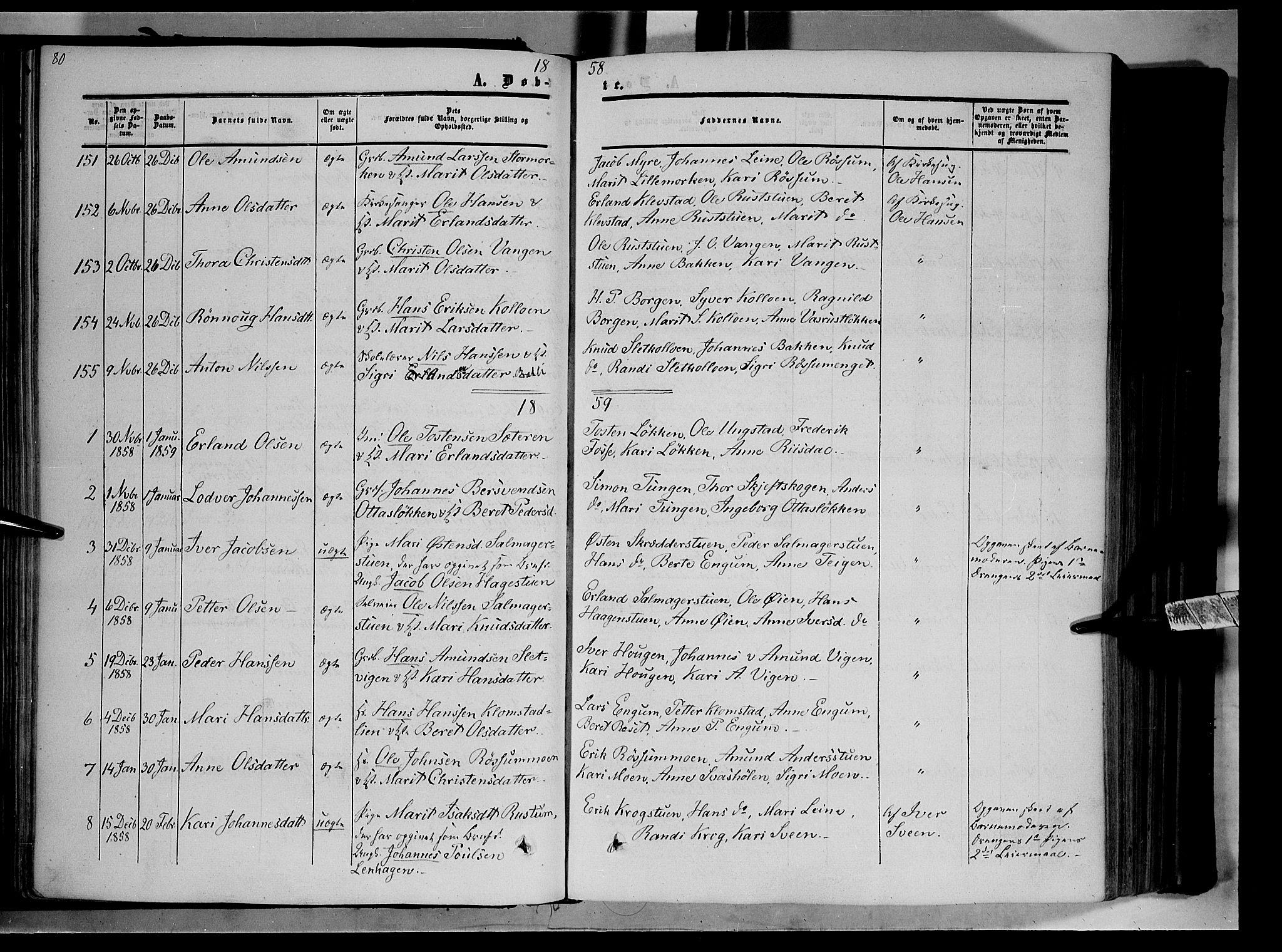 SAH, Nord-Fron prestekontor, Ministerialbok nr. 1, 1851-1864, s. 80