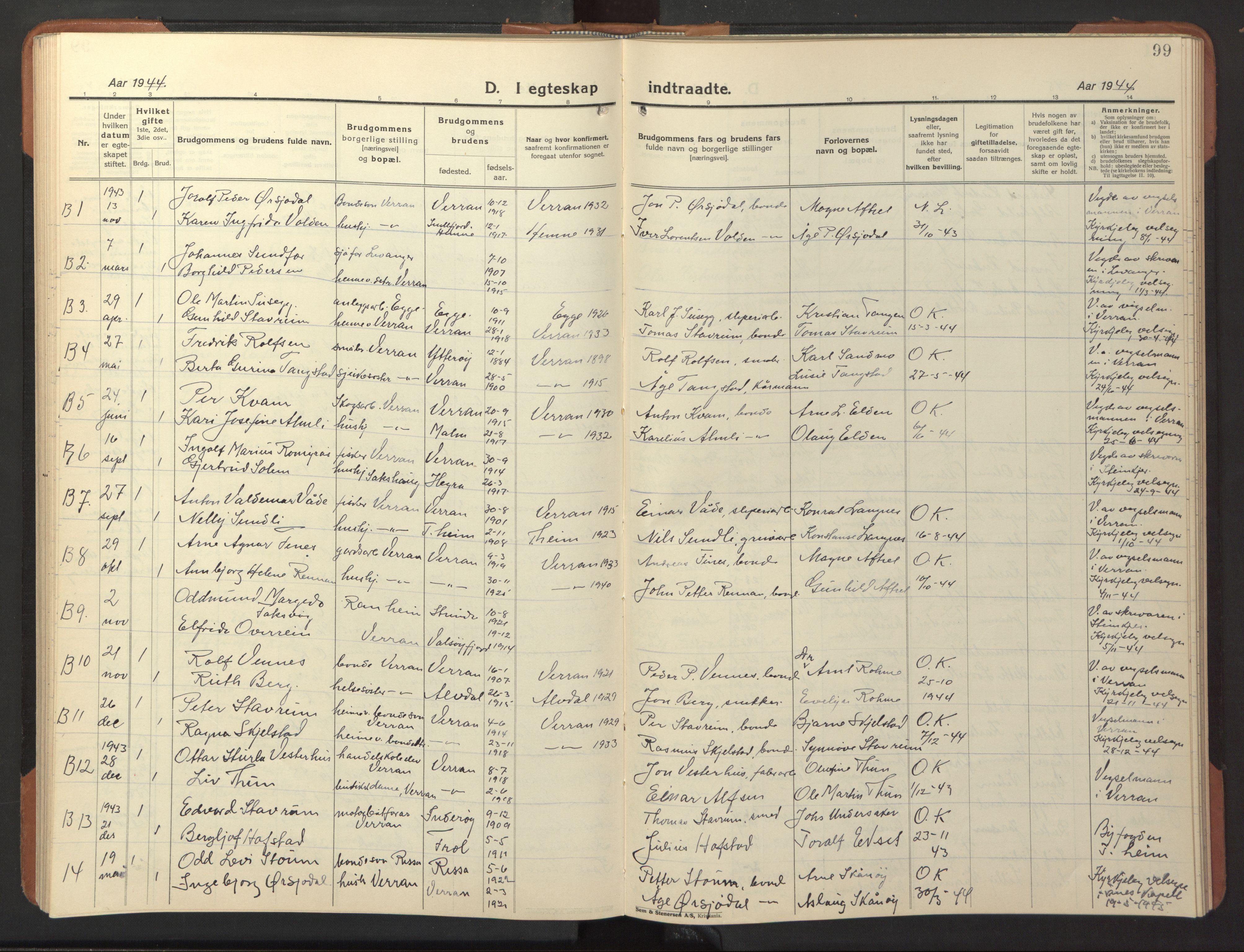 SAT, Ministerialprotokoller, klokkerbøker og fødselsregistre - Nord-Trøndelag, 744/L0425: Klokkerbok nr. 744C04, 1924-1947, s. 99