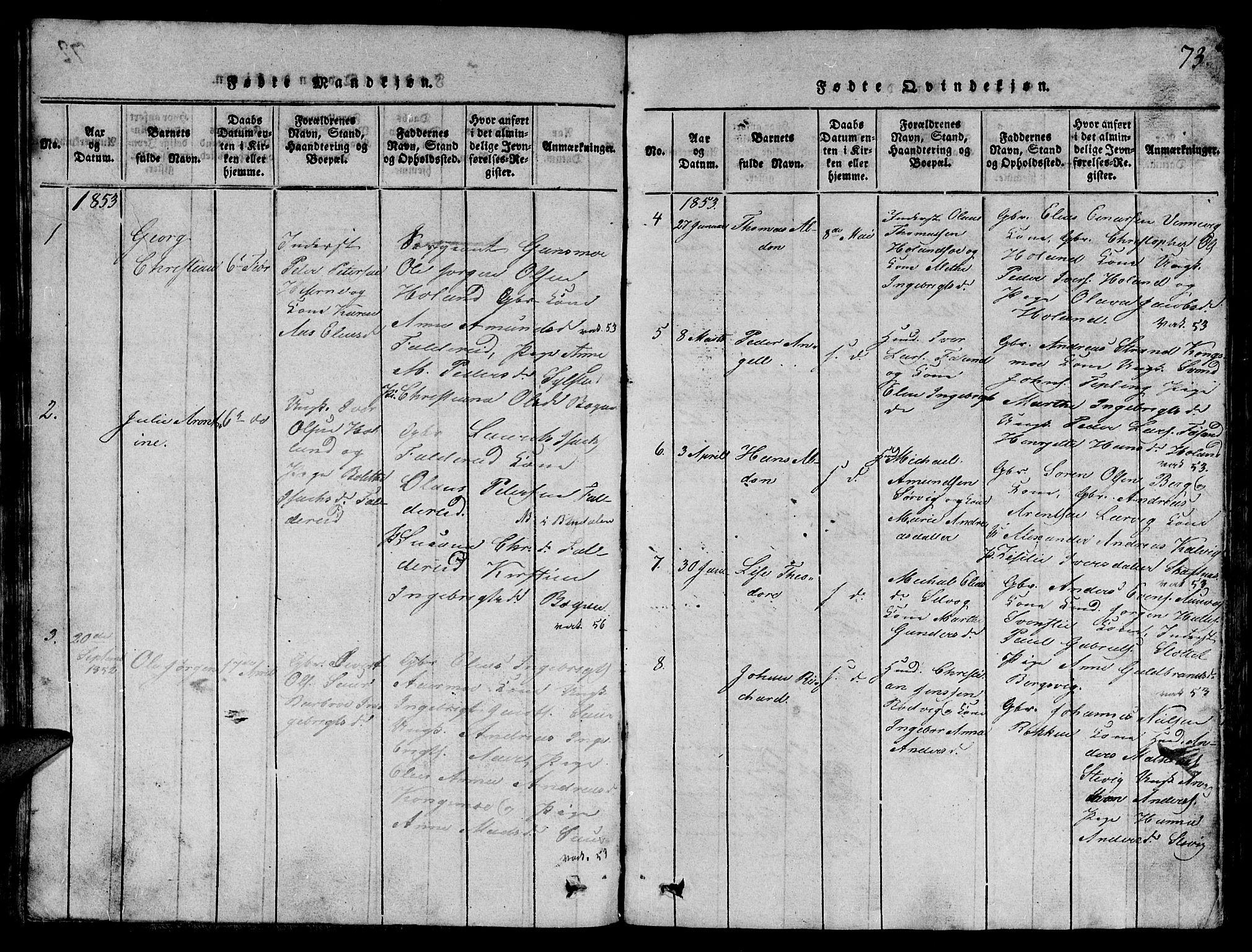 SAT, Ministerialprotokoller, klokkerbøker og fødselsregistre - Nord-Trøndelag, 780/L0648: Klokkerbok nr. 780C01 /3, 1815-1877, s. 73