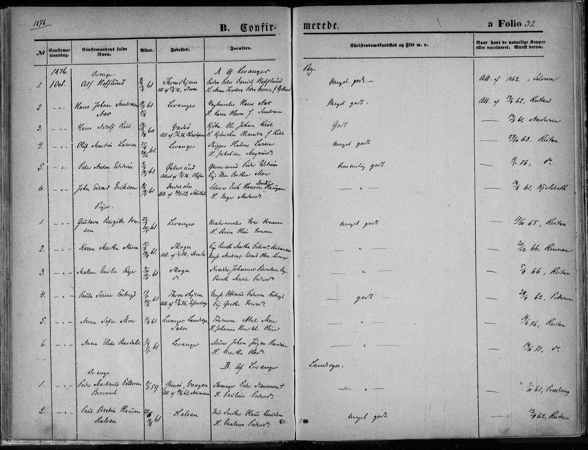 SAT, Ministerialprotokoller, klokkerbøker og fødselsregistre - Nord-Trøndelag, 720/L0187: Ministerialbok nr. 720A04 /1, 1875-1879, s. 32