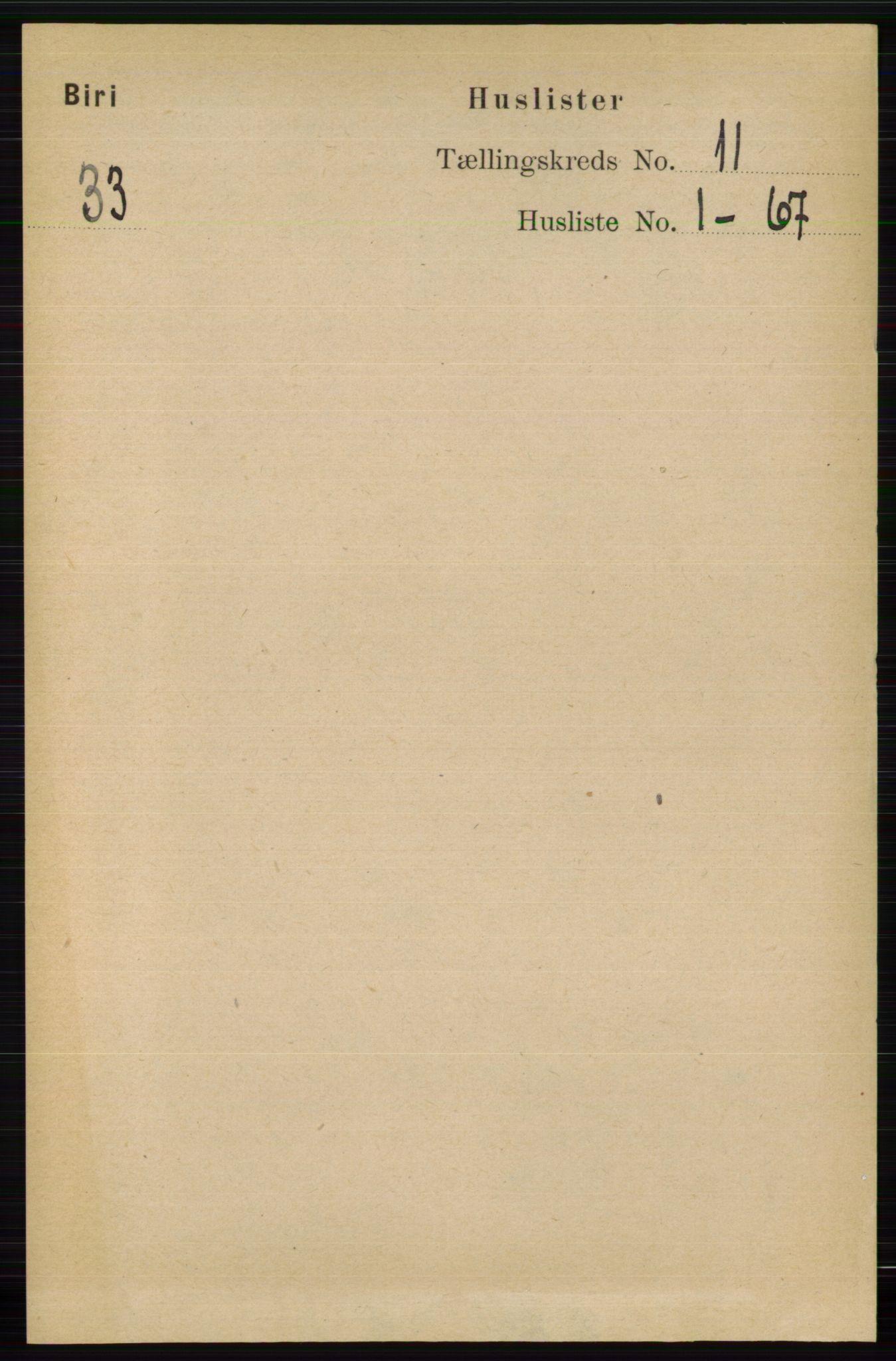 RA, Folketelling 1891 for 0525 Biri herred, 1891, s. 4292