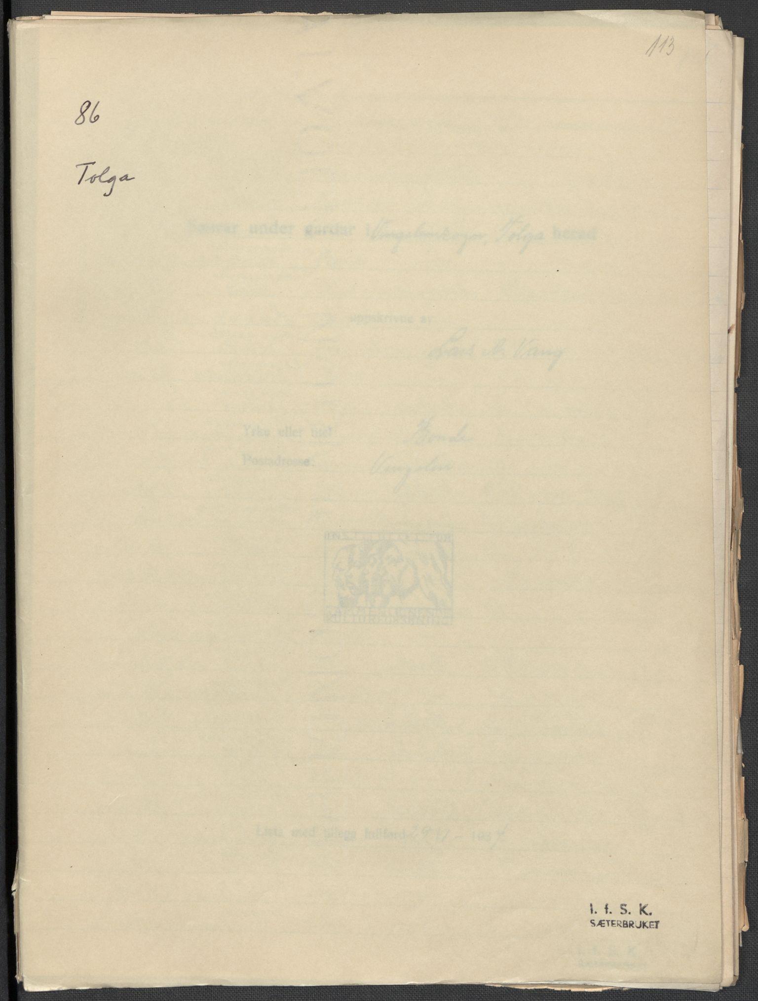 RA, Instituttet for sammenlignende kulturforskning, F/Fc/L0003: Eske B3:, 1933-1939, s. 113