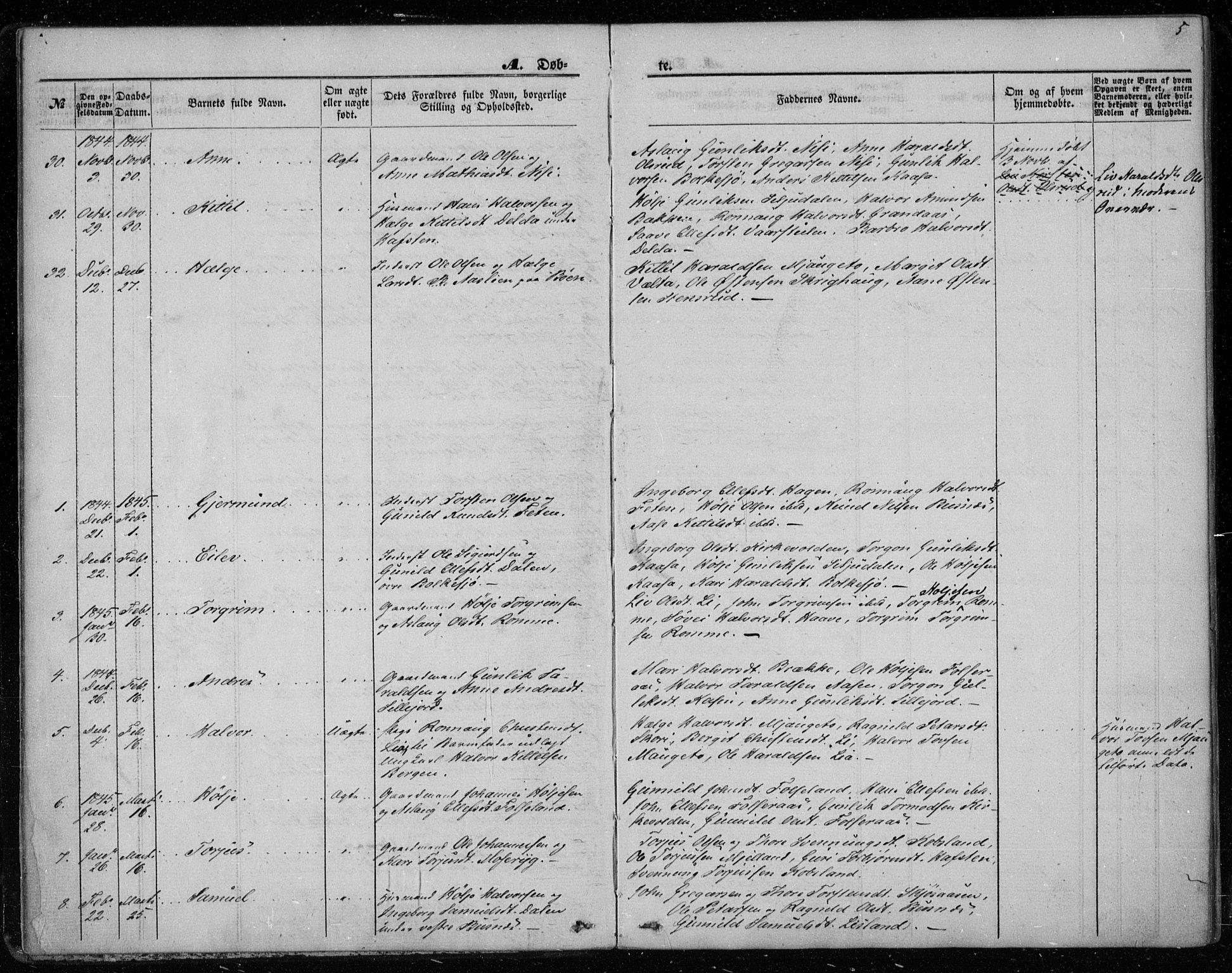 SAKO, Gransherad kirkebøker, F/Fa/L0002: Ministerialbok nr. I 2, 1844-1859, s. 5